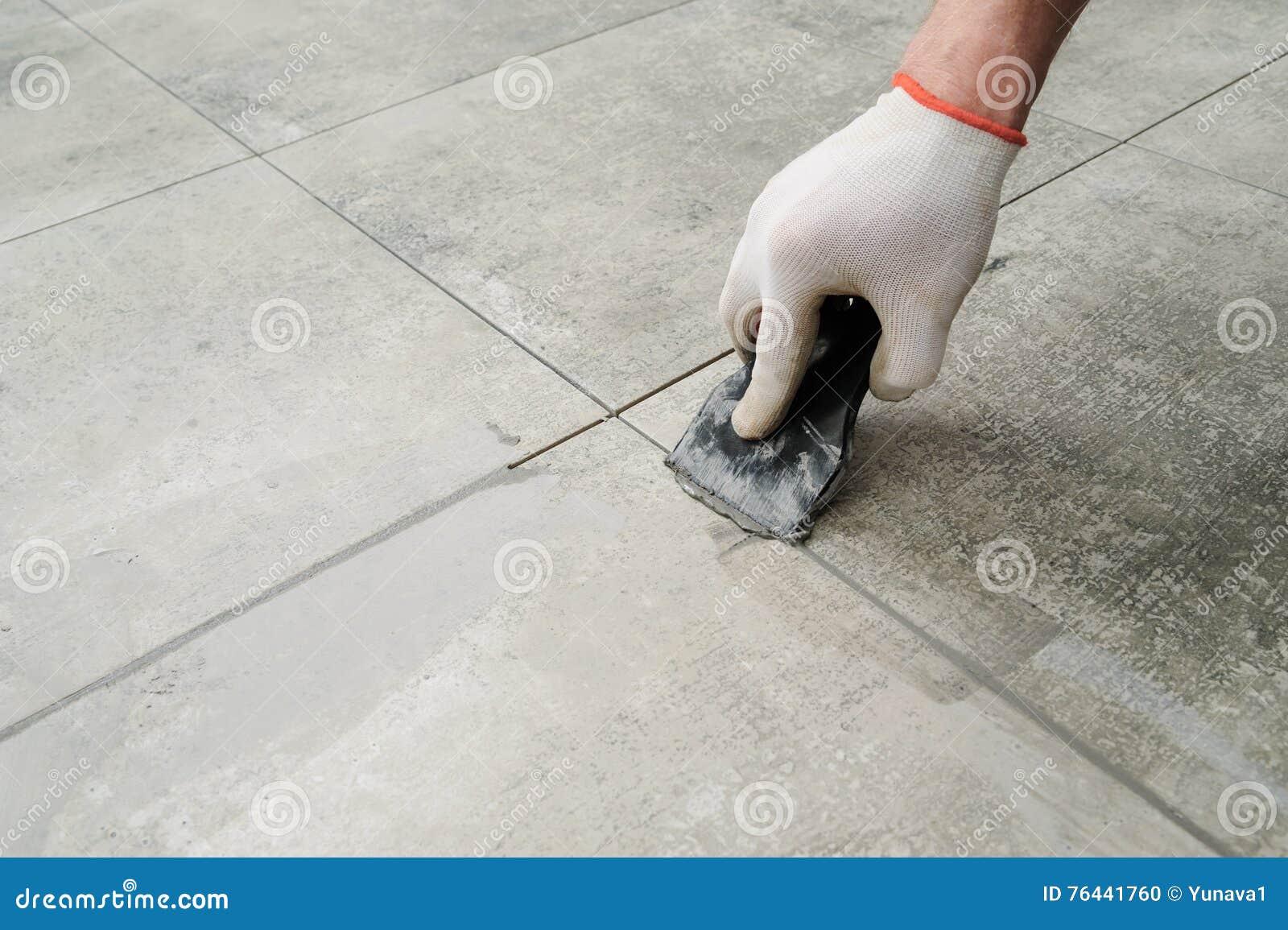 Grouting Ceramic Tiles Stock Photo Image Of Renovation 76441760