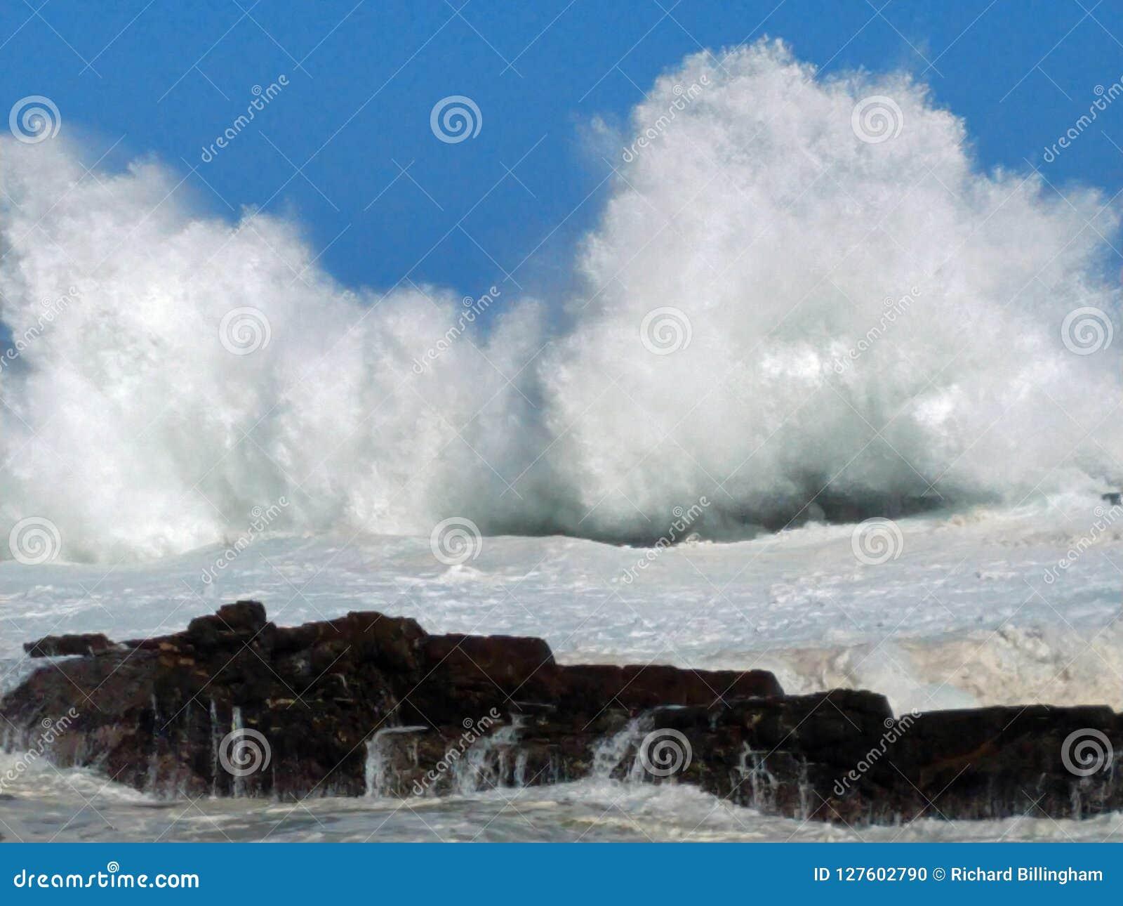 Grovt hav & höga vågor, Storm& x27; s-flod, Tsitsikamma, Sydafrika
