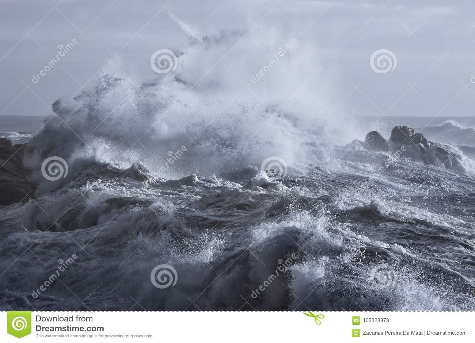 Grovt hav på kusten