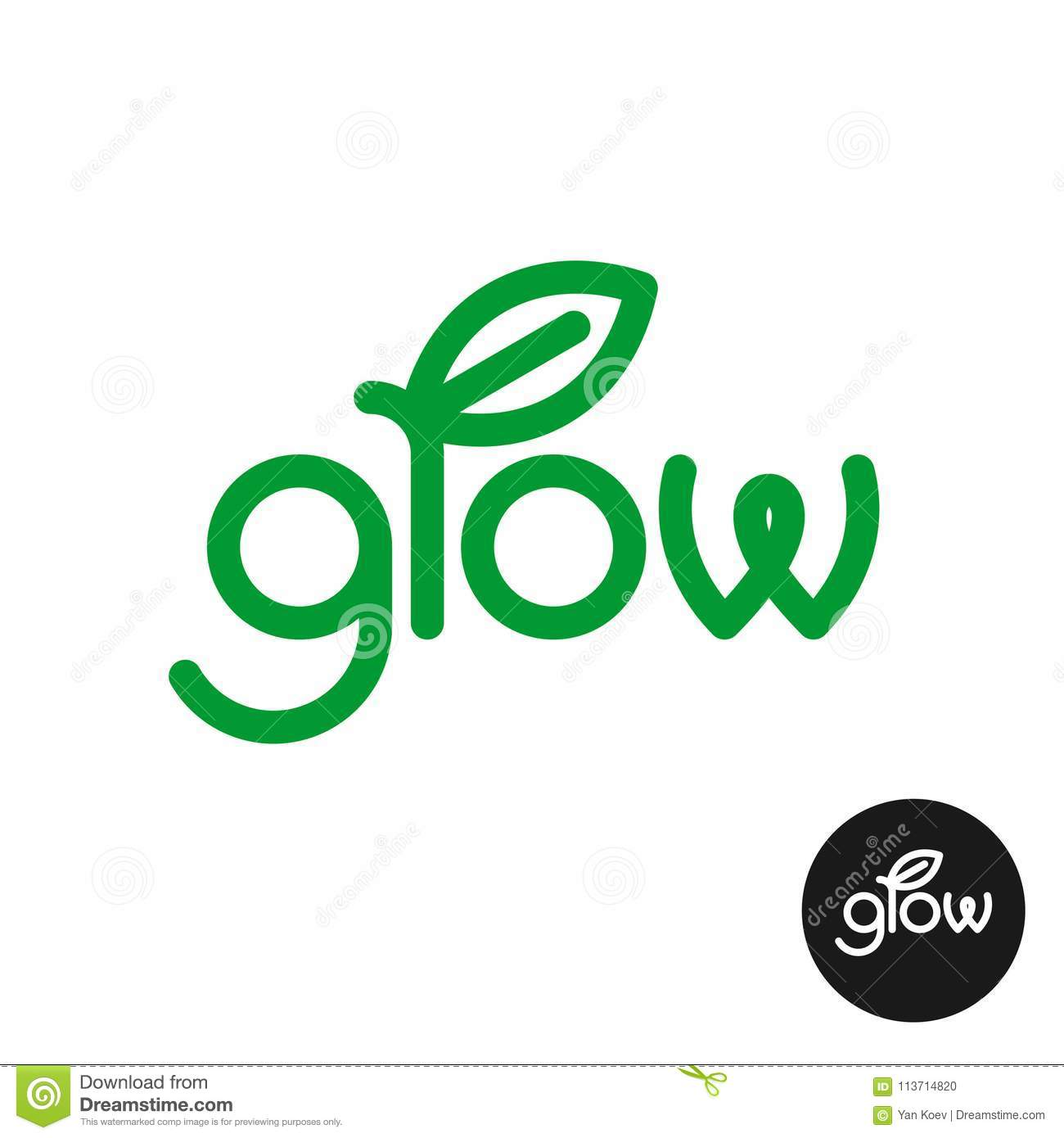 Grow Word Stylized Text Letters With Green Leaf Stock Vector