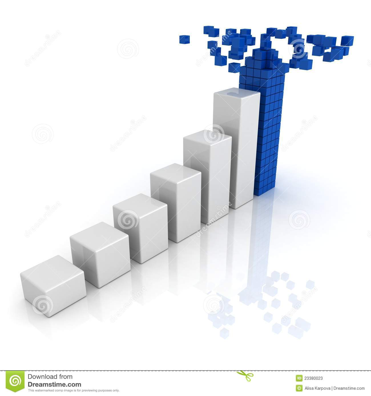 Growing Bar Diagram With Top Of Building Blocks Stock Illustration