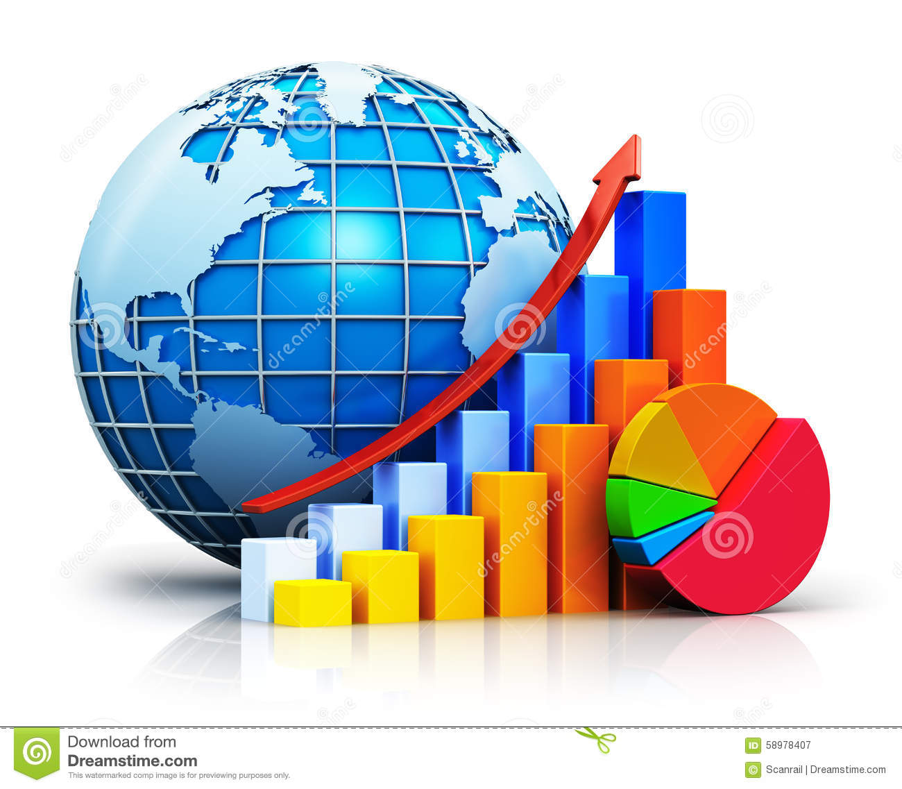 Finance Graph: Growing Bar Graphs, Pie Chart And Earth Globe Stock