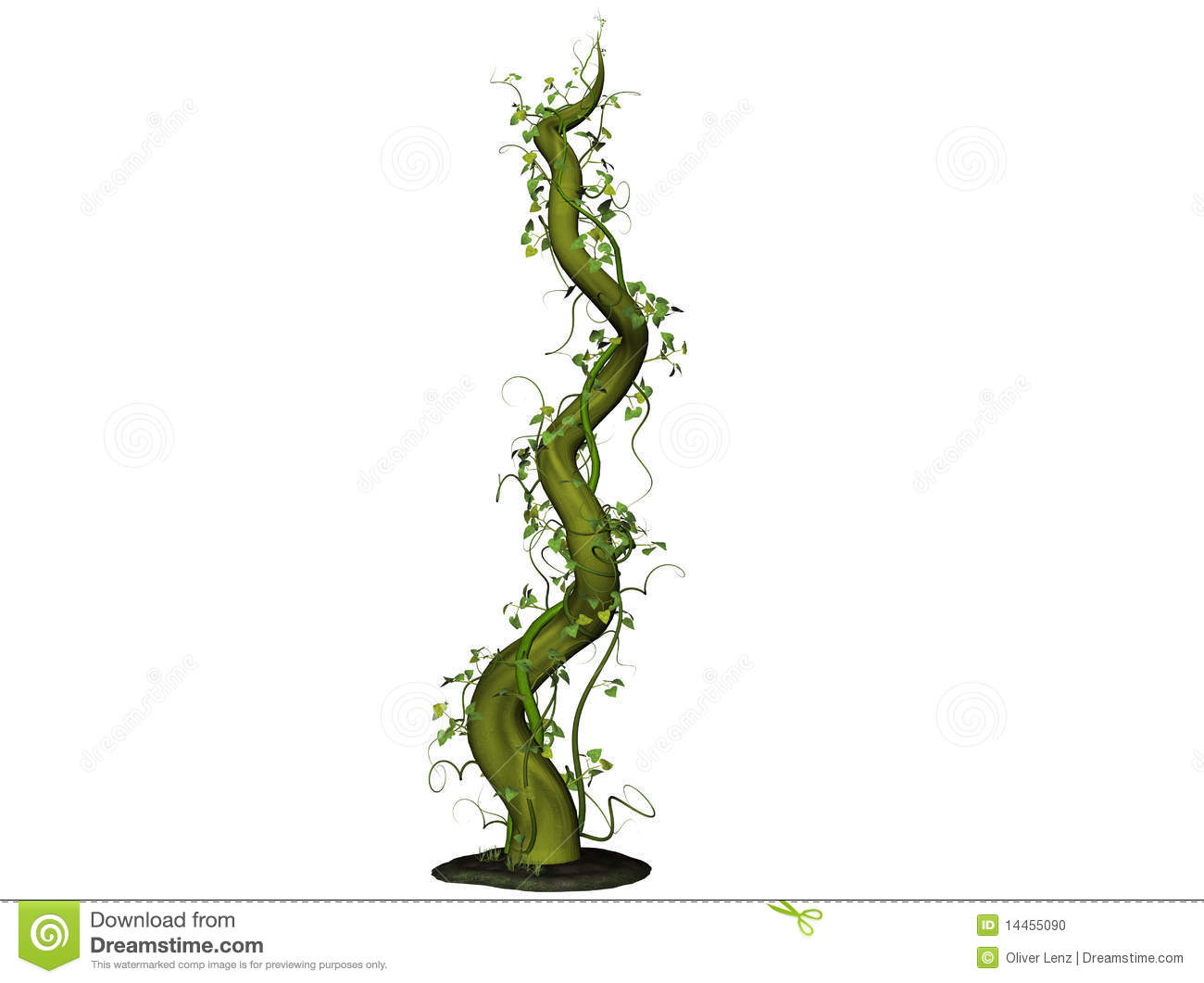 Illustration of beanstalk emerging from the ground.
