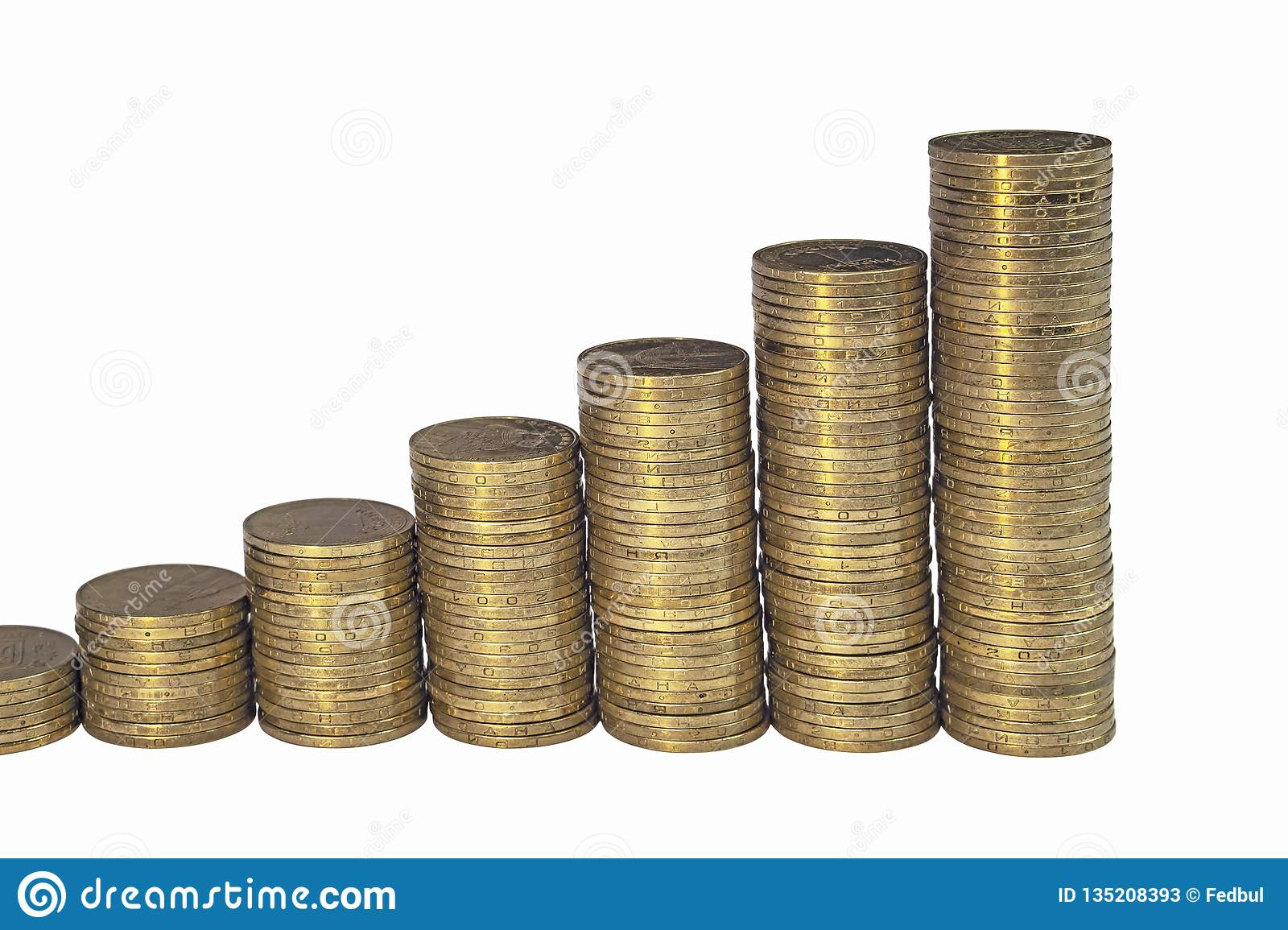 Growing Chart From Columns Of Golden Coins Isolated On White