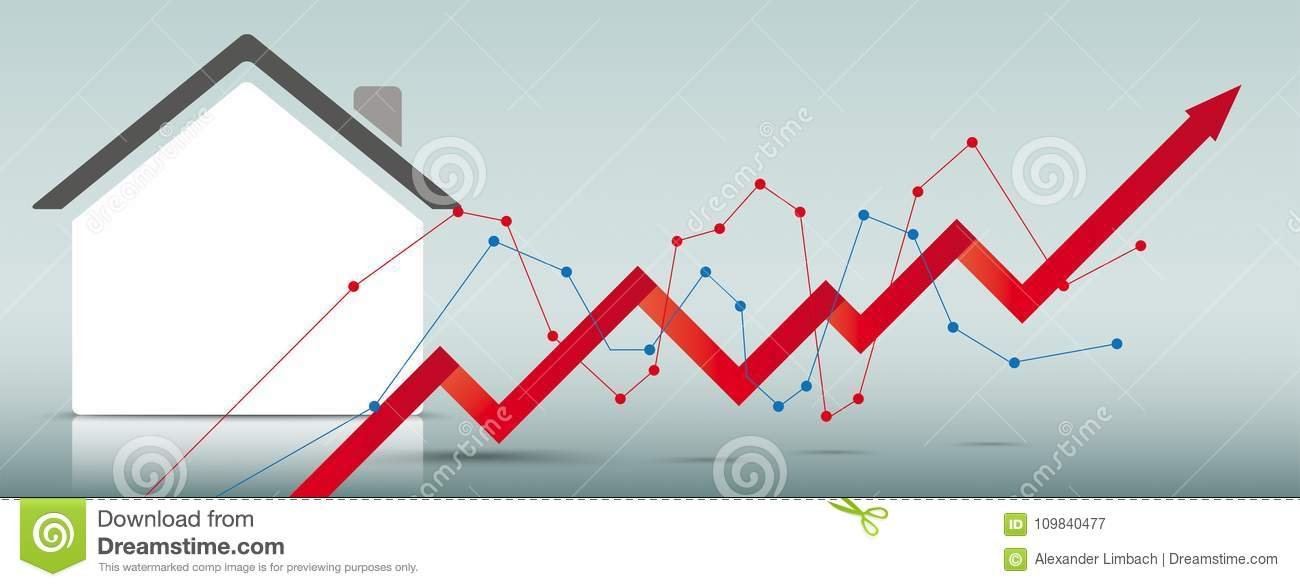 House Building Growth Chart Stock Vector Illustration Of