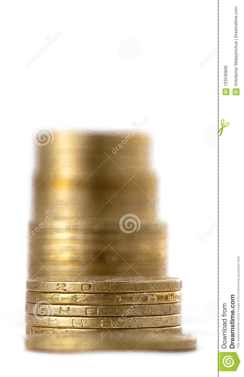 Growing coins stacks on white background. Financial growth, saving money, business finance wealth and success concept