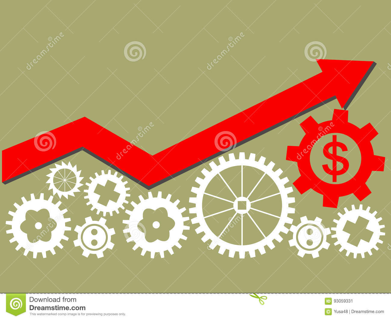 Growing Economy And Industry Represented By Gears As A Symbol Of