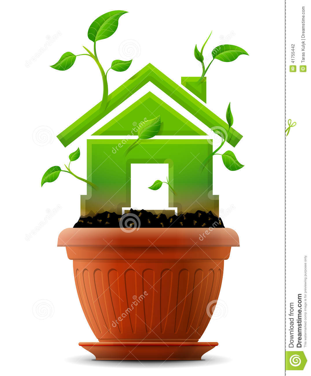 growing house symbol like plant with leaves in flower pot stock