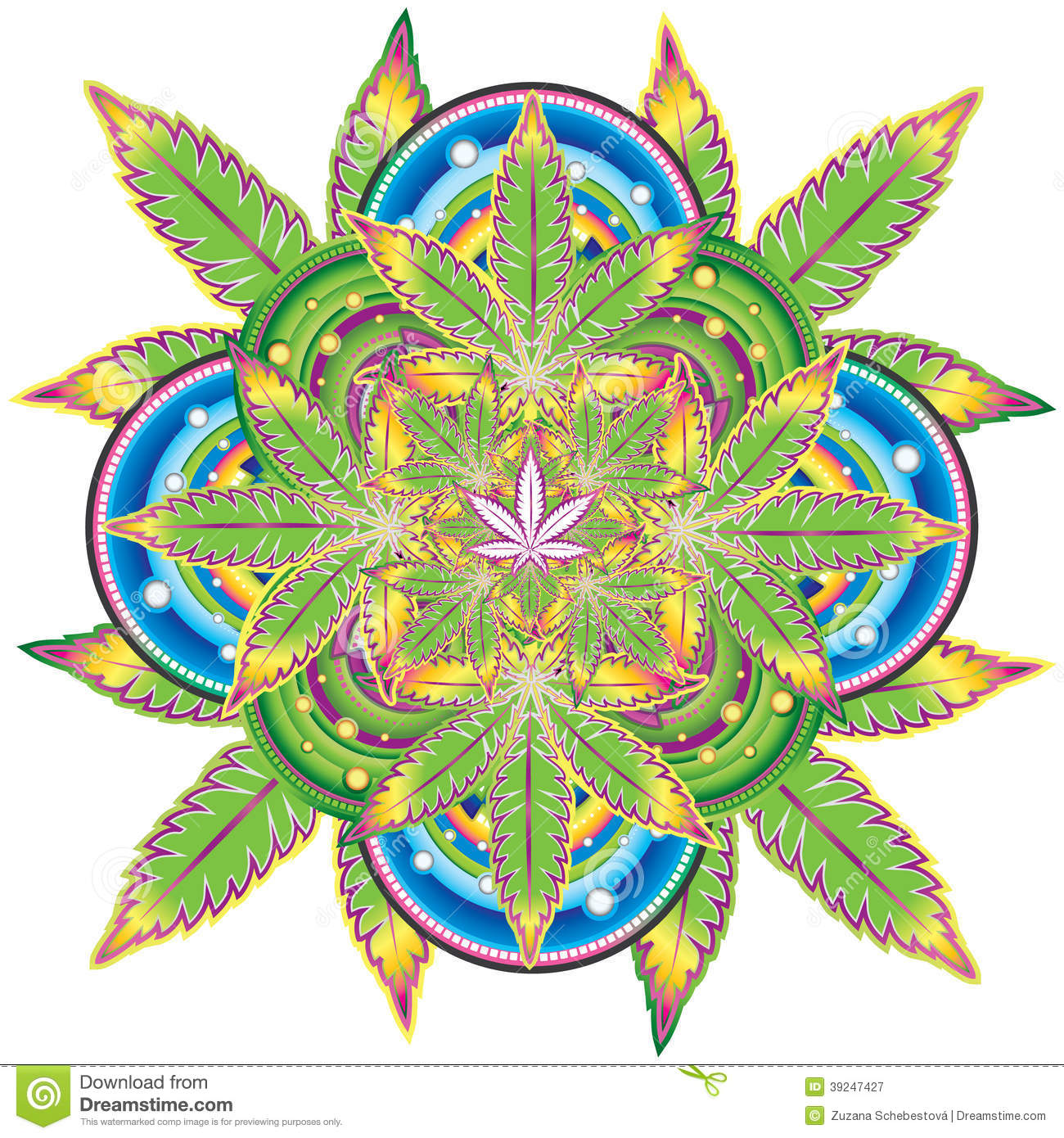 Growing marijuana leaf kaleidoscope symbol