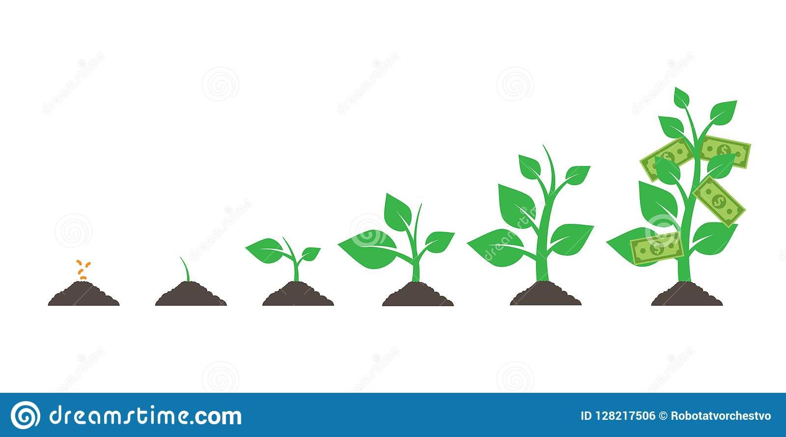 Growing money tree. isolated on white background. Vector illustration. Eps.