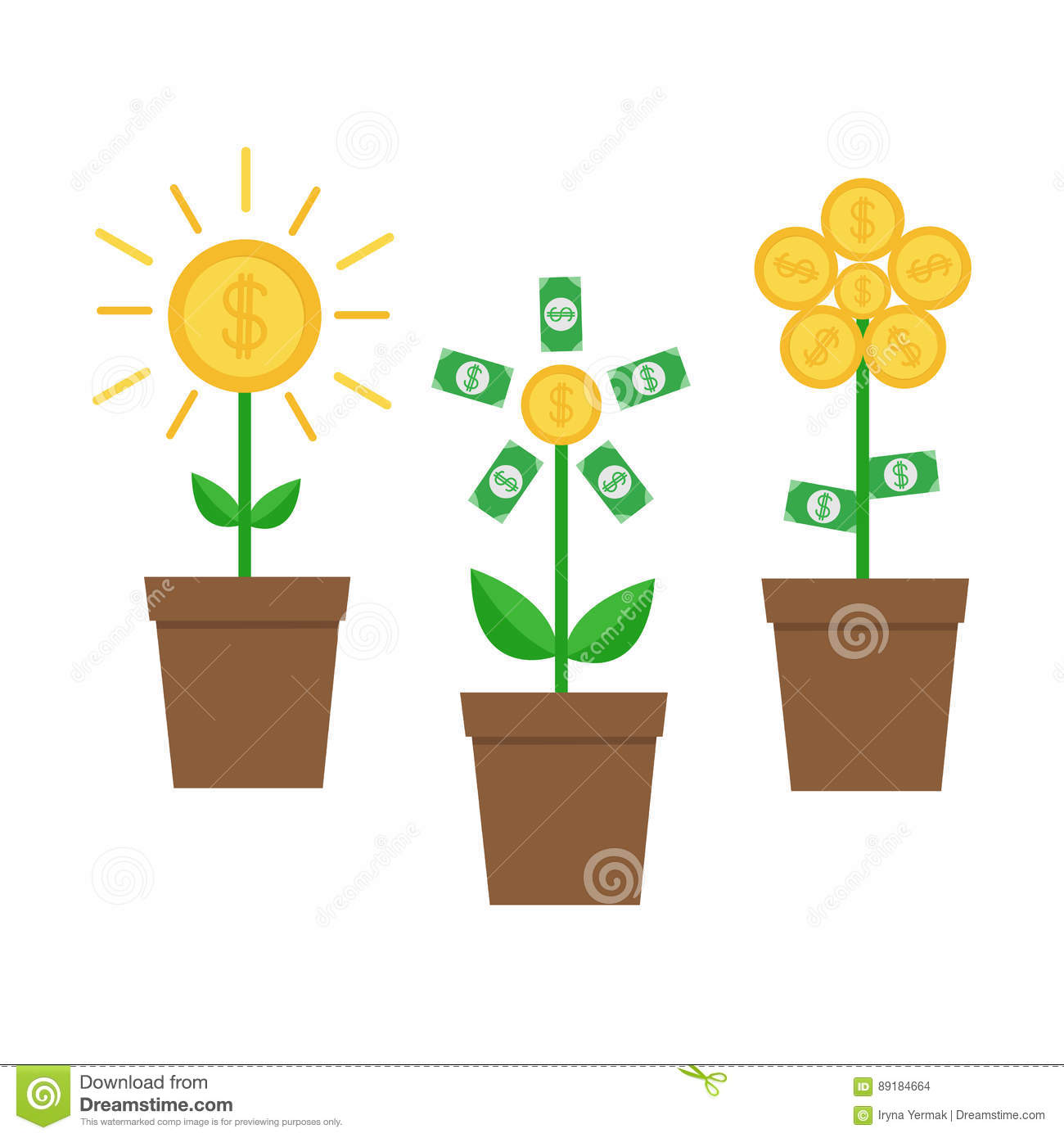 Shining money bag icon dollar sign flat design cartoon vector 52496385 - Successful flower growing business ...