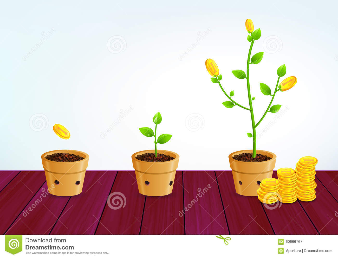 Growing money tree successful business saving growth concept stock illustration image 60666767 - Successful flower growing business ...