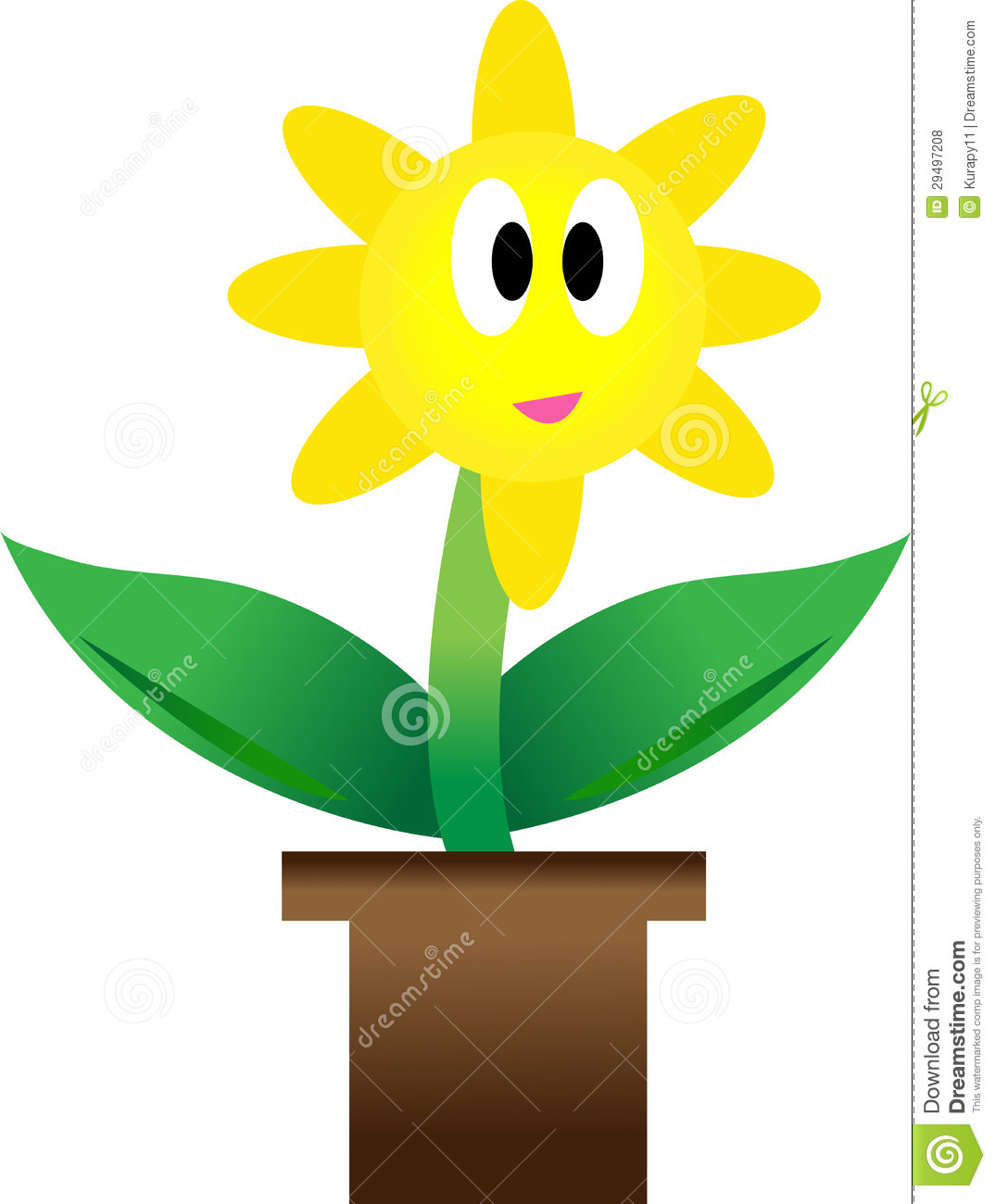 Growing Plant With Yellow Flower In Pot Stock Illustration