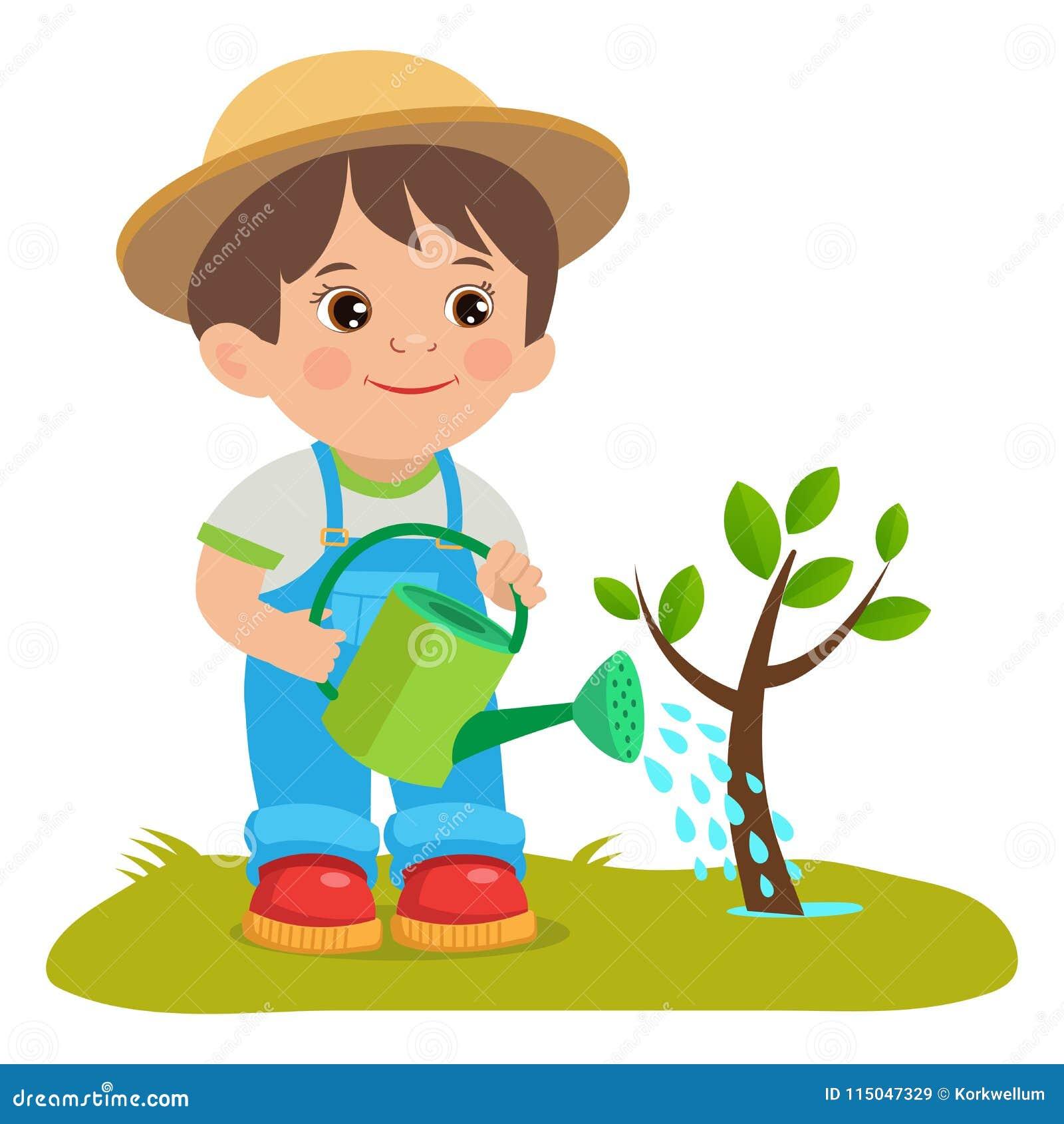 Garden Cute Cartoon: Growing Young Gardener. Cute Cartoon Boy With Watering Can