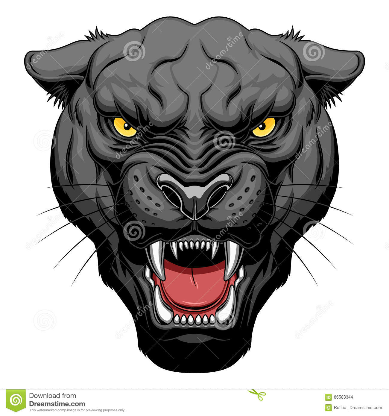 Black Jaguar Growl: Growling Panther Face Stock Vector. Illustration Of Scary