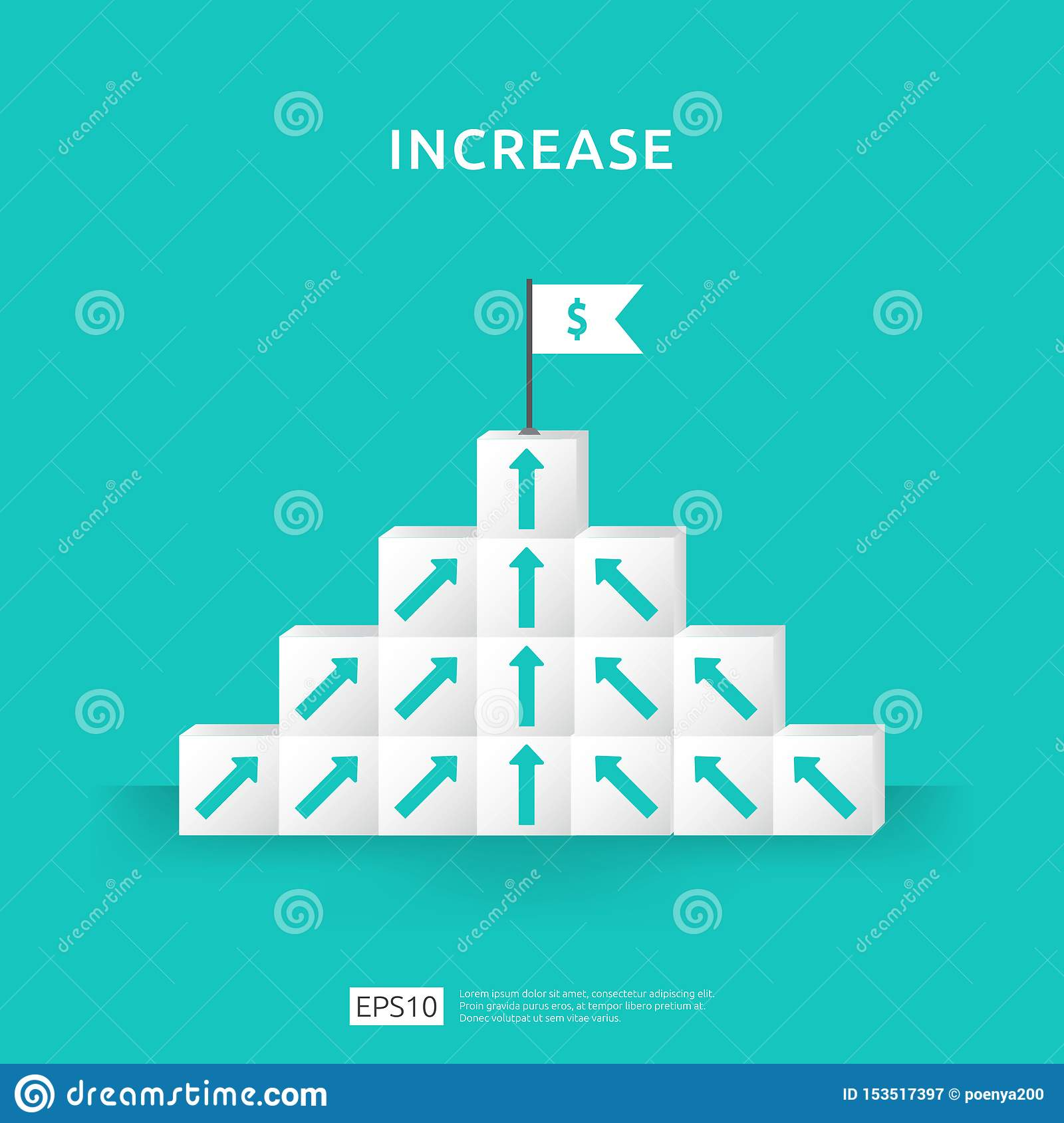 Growth business increase concept with stacking block. step stair ladder with arrow up vector illustration for success process,
