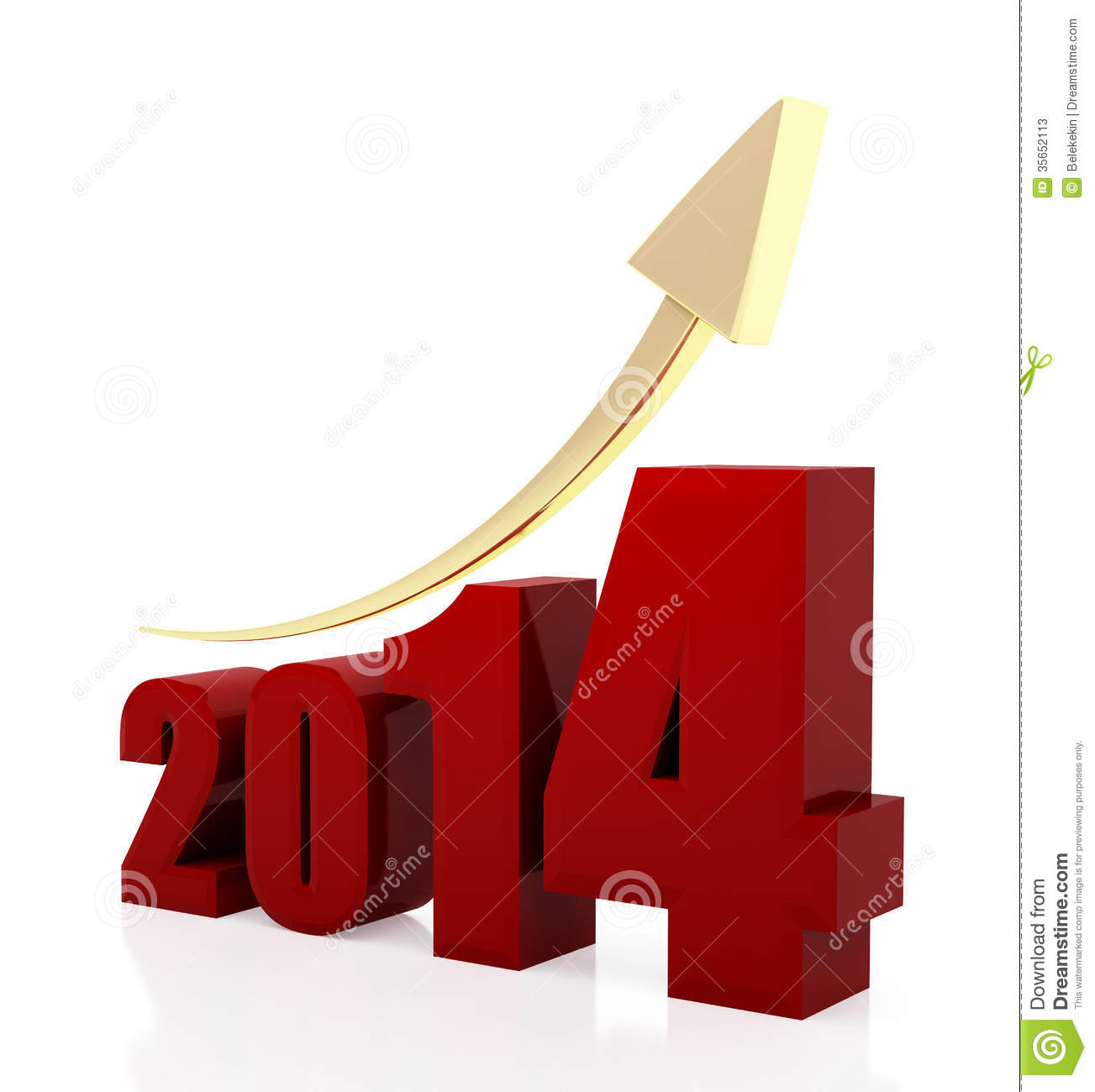 3d rendered illustration of 2014 text and rising arrow