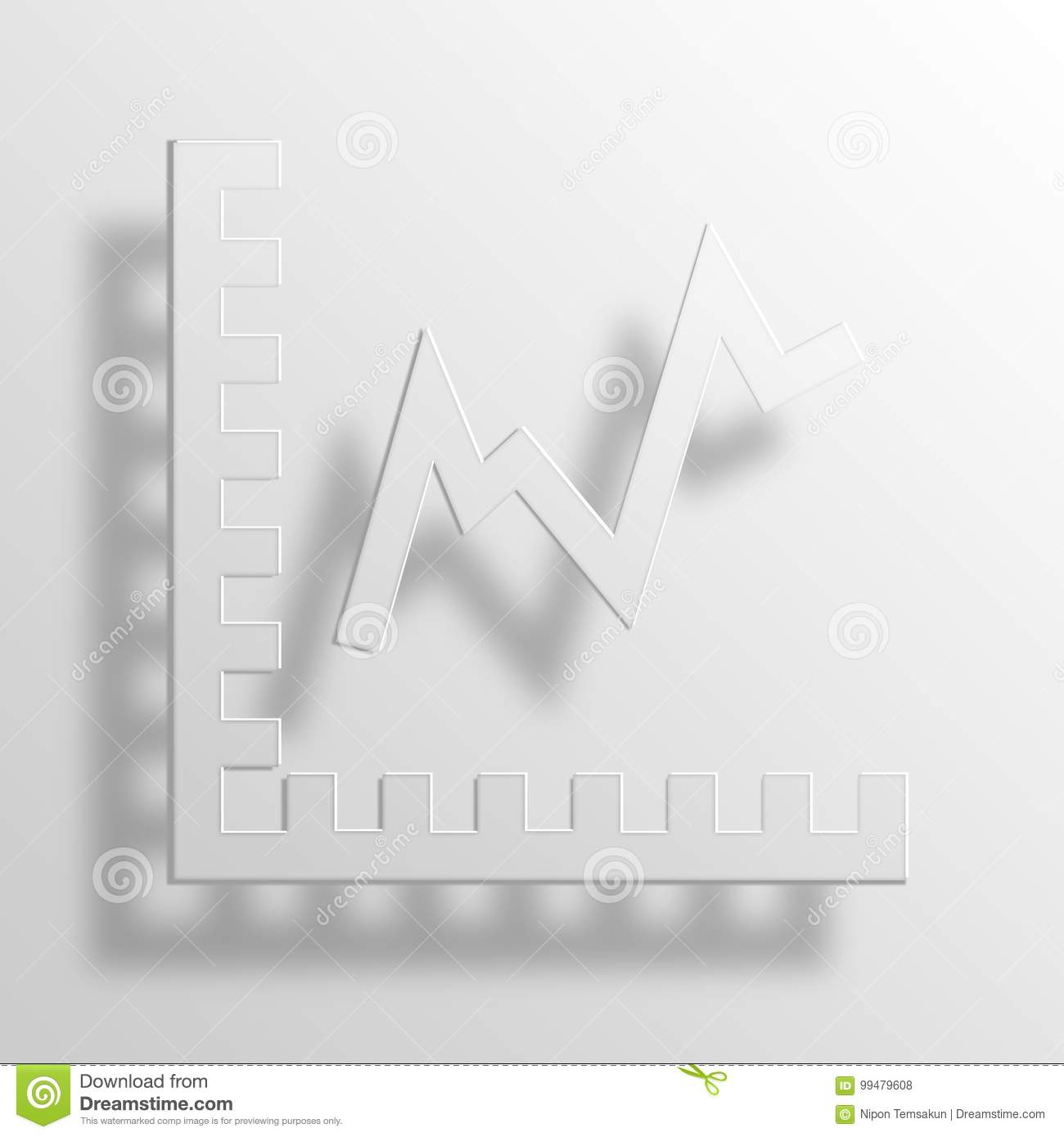 Growth Chart 3d Rendering Paper Icon Symbol Business Word Cloud