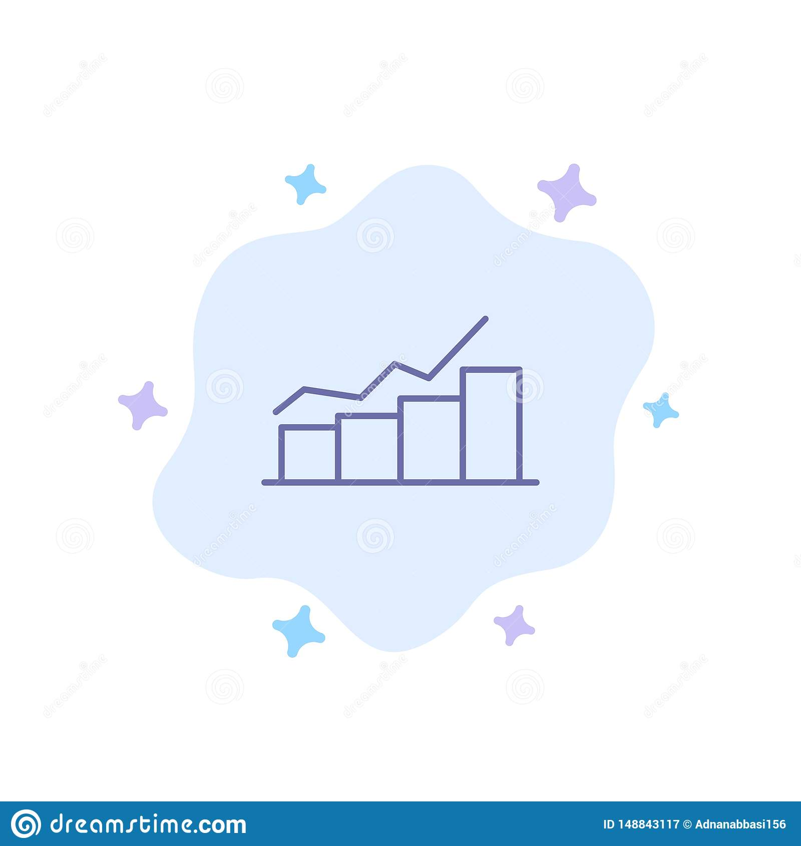 Growth, Chart, Flowchart, Graph, Increase, Progress Blue Icon on Abstract Cloud Background