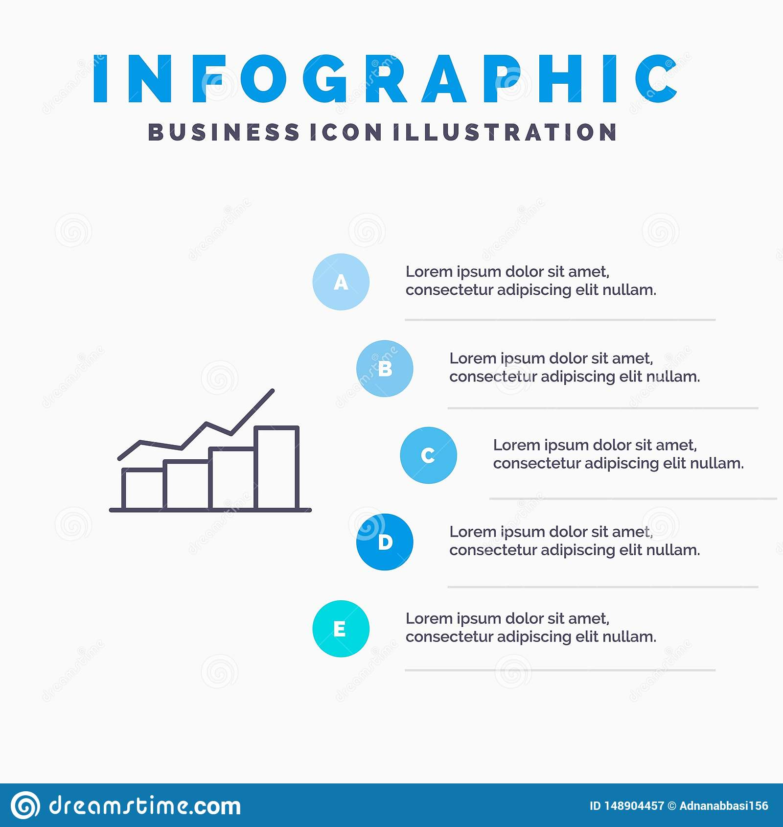 Growth, Chart, Flowchart, Graph, Increase, Progress Line icon with 5 steps presentation infographics Background