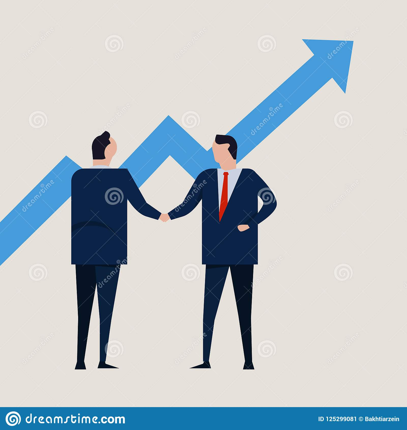 Growth chart going up. increase value investment. Business people agreement standing handshake wearing suite formal