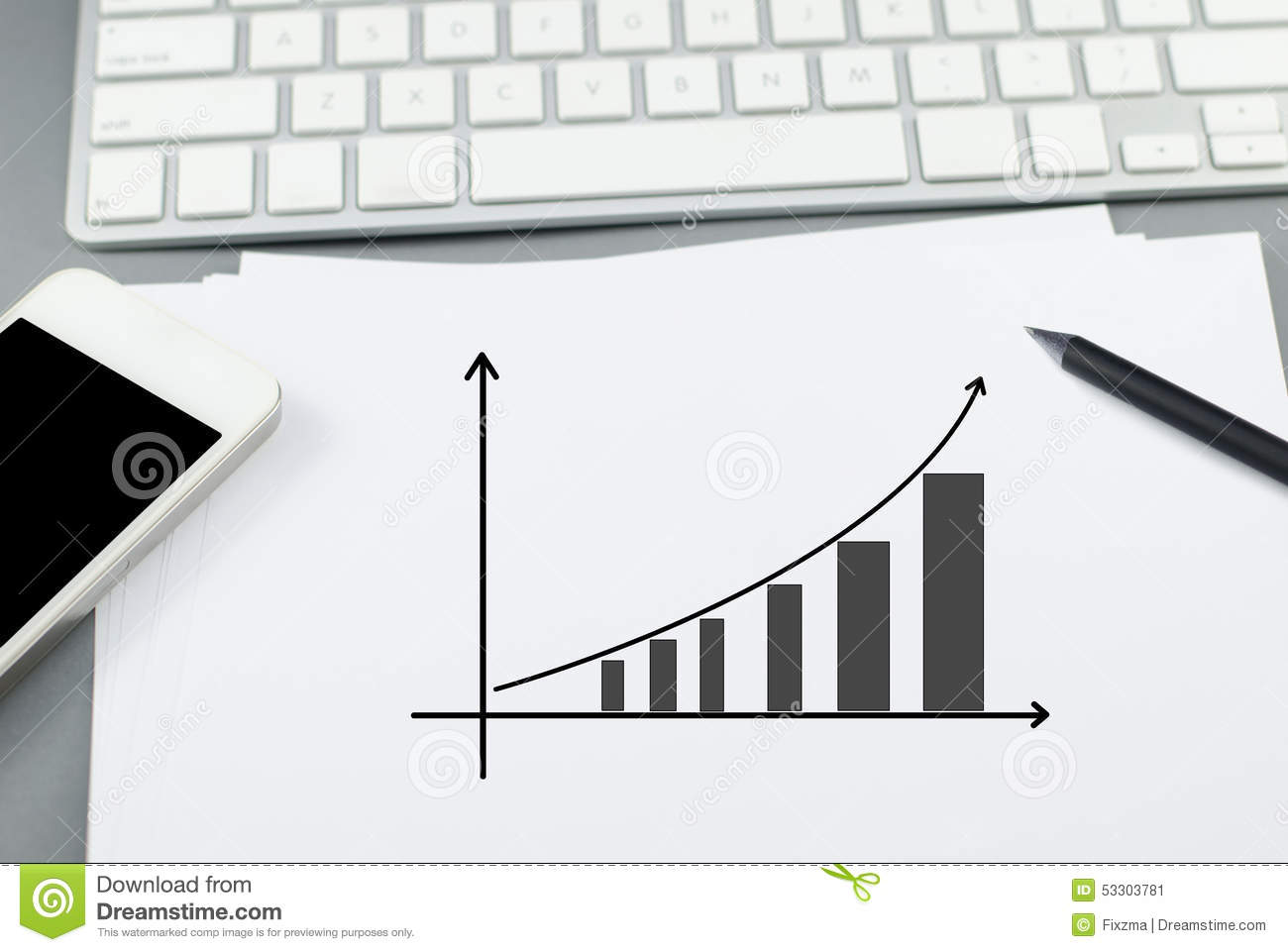 Growth Chart On Paper With Pencil And Smart Phone Stock Image
