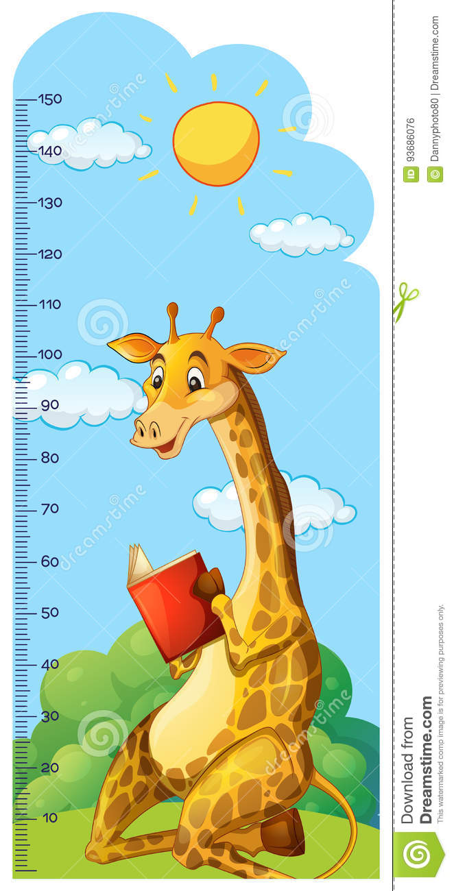 Growth chart ruler with giraffe reading book stock vector growth chart ruler with giraffe reading book nvjuhfo Image collections