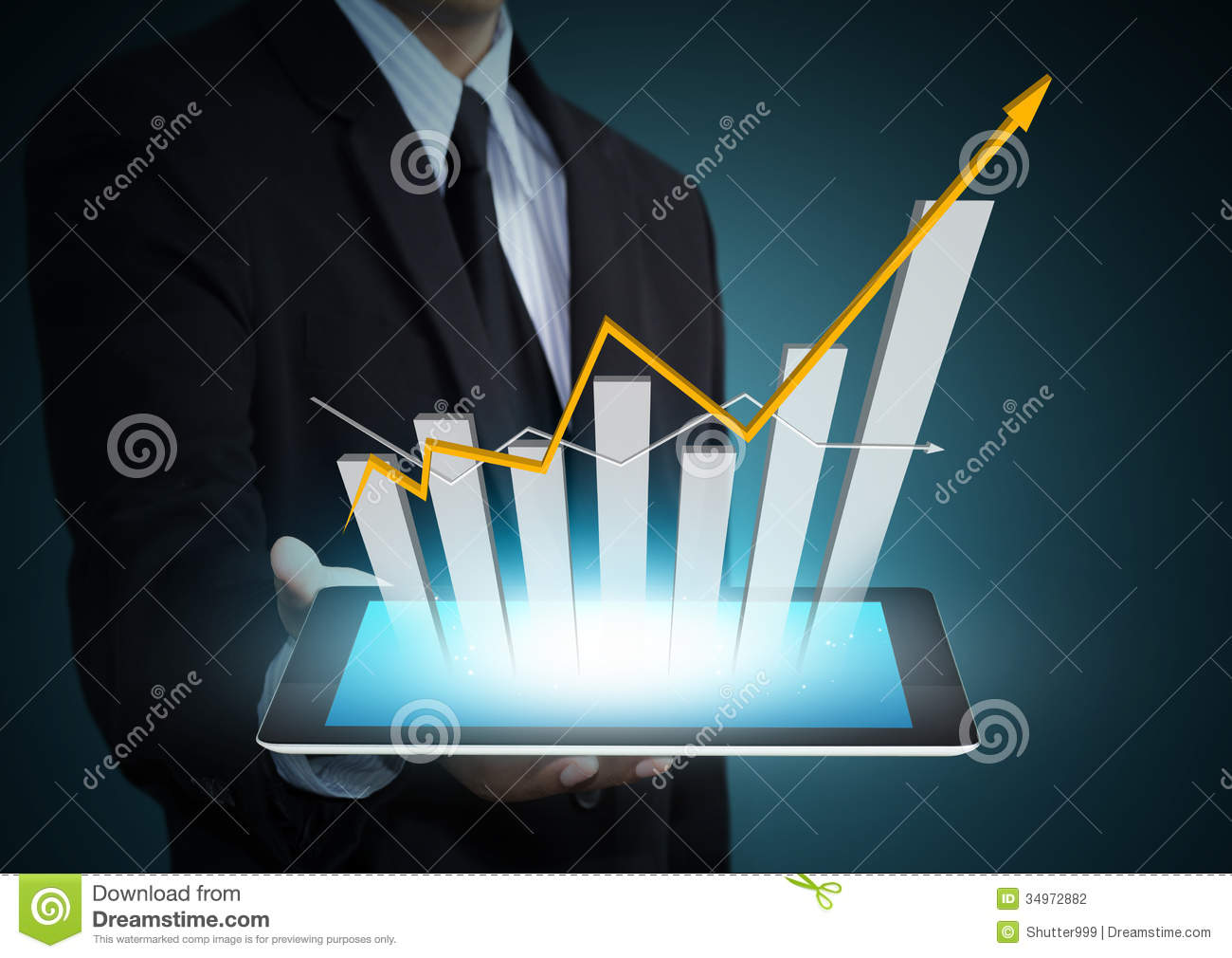 Technology Management Image: Growth Chart On Tablet Technology Stock Photography