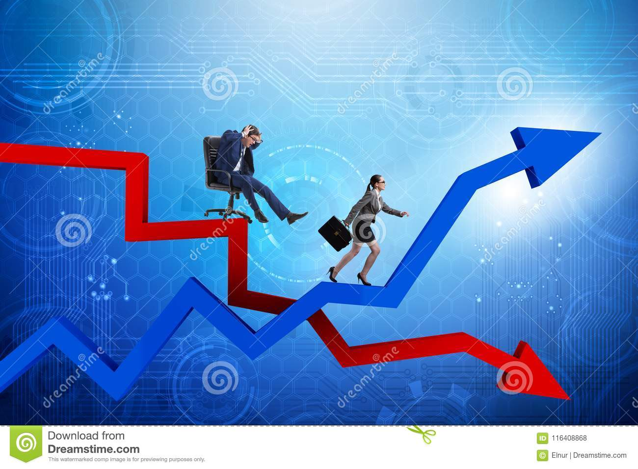 The growth and decline concept with businessmen