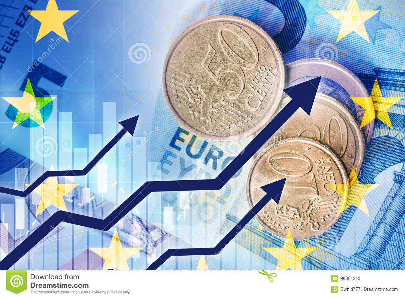 Growth Of Euro Currency Stock Image Image Of Coins Banknotes