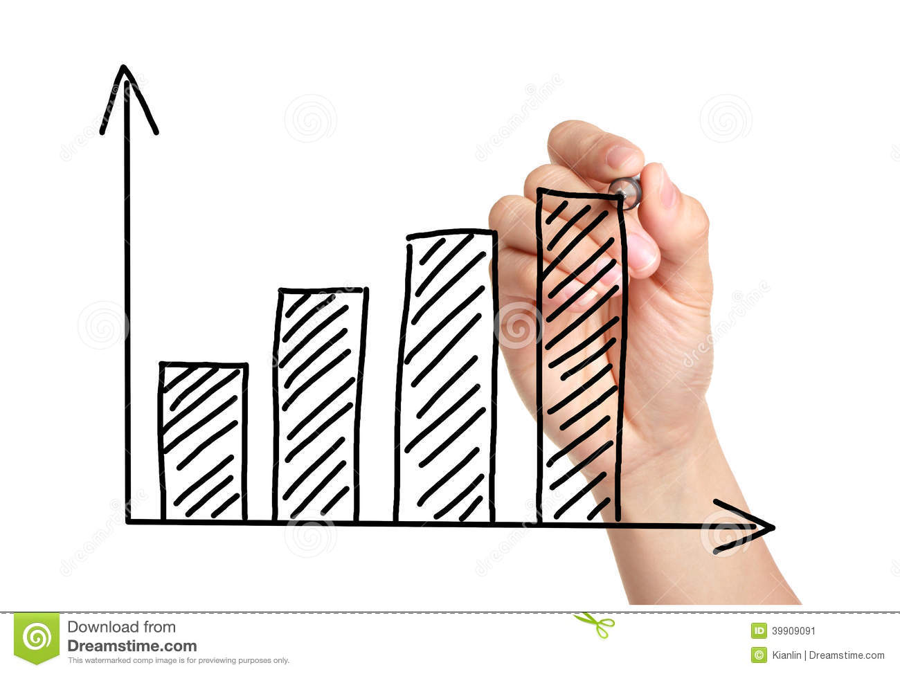 Drawing Line Graphs By Hand : Growth graph on blackboard stock photo image