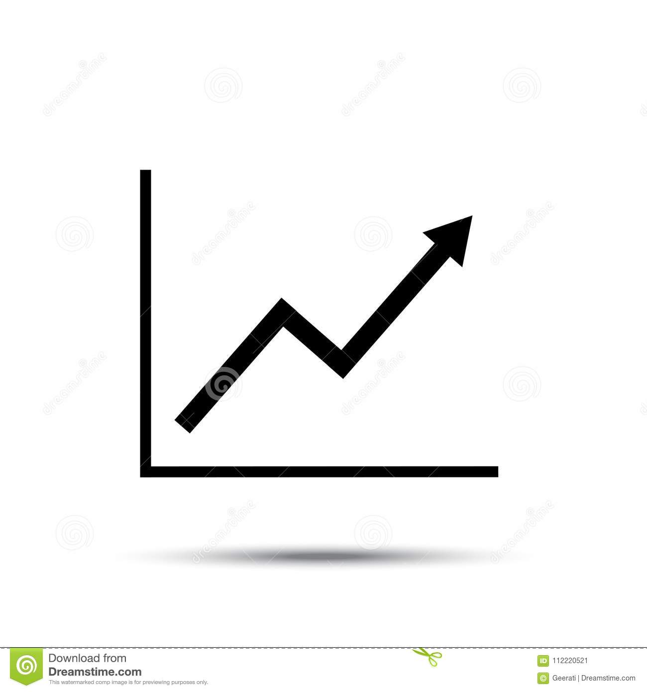 growth line chart icon  growing diagram flat vector illustration with shadow