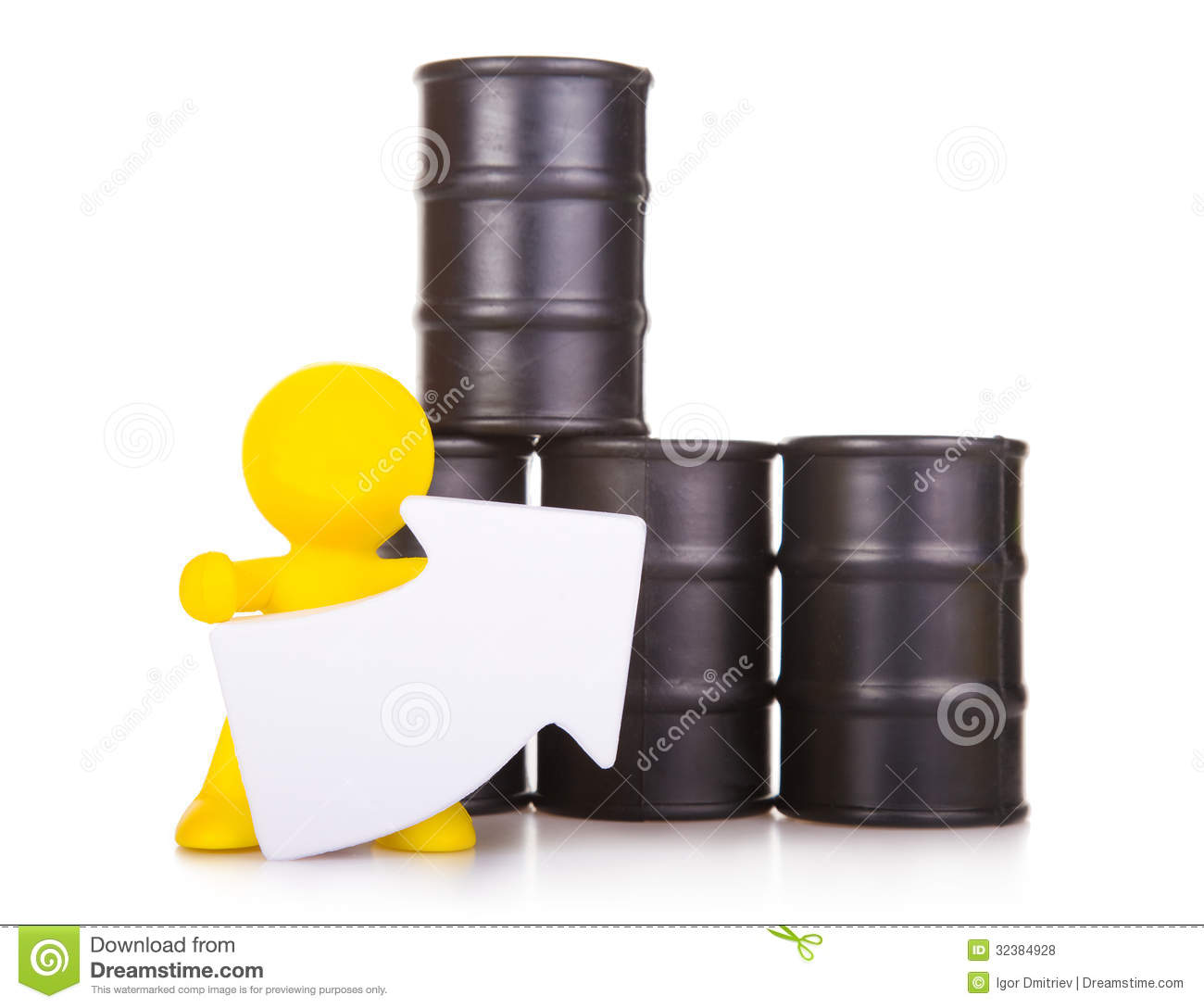 Person Pricing: Growth Of The World Prices For Oil. Stock Photo