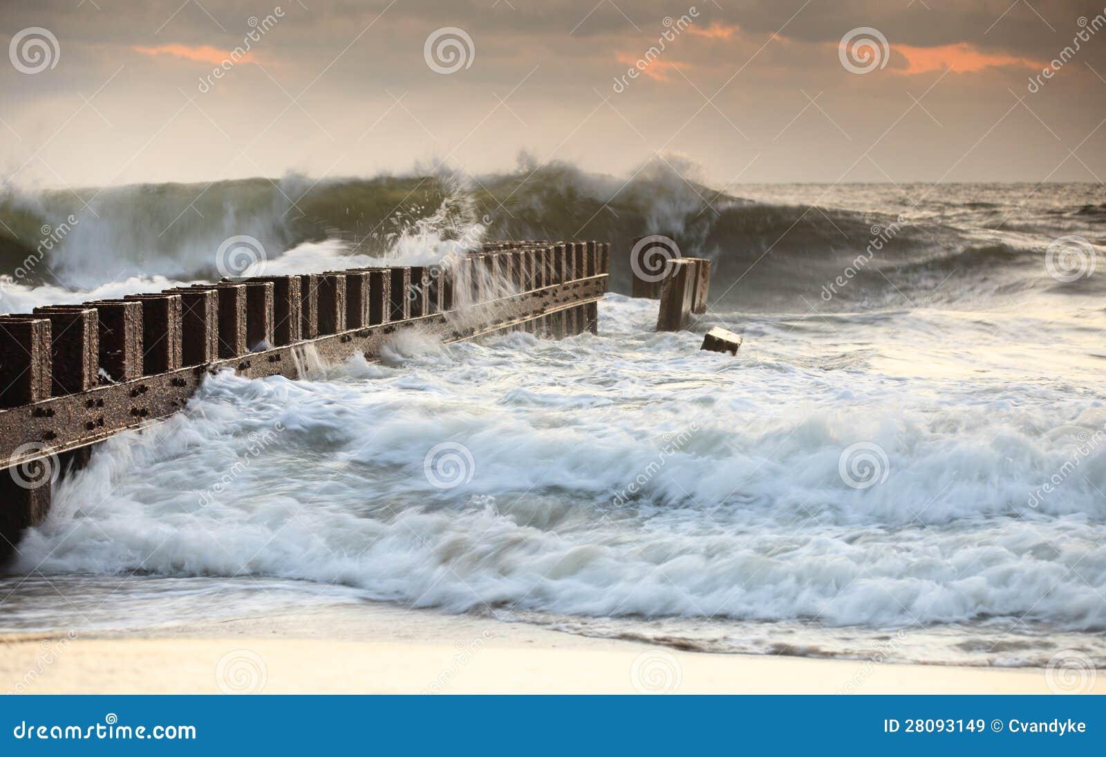 Groyne Bashed By Ocean Waves North Carolina Stock Image