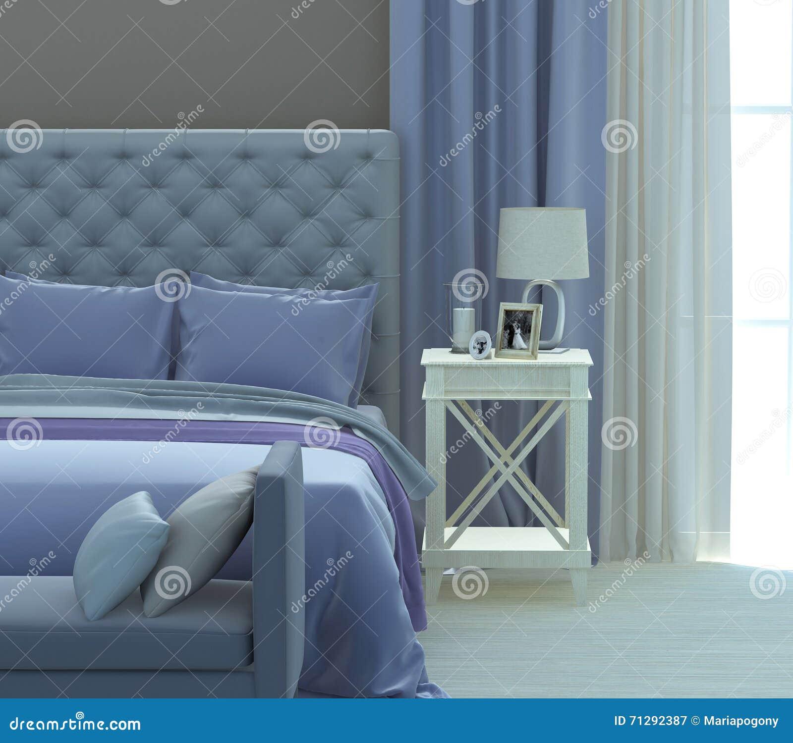 Grått och blått sovrum arkivfoto   bild: 71292387