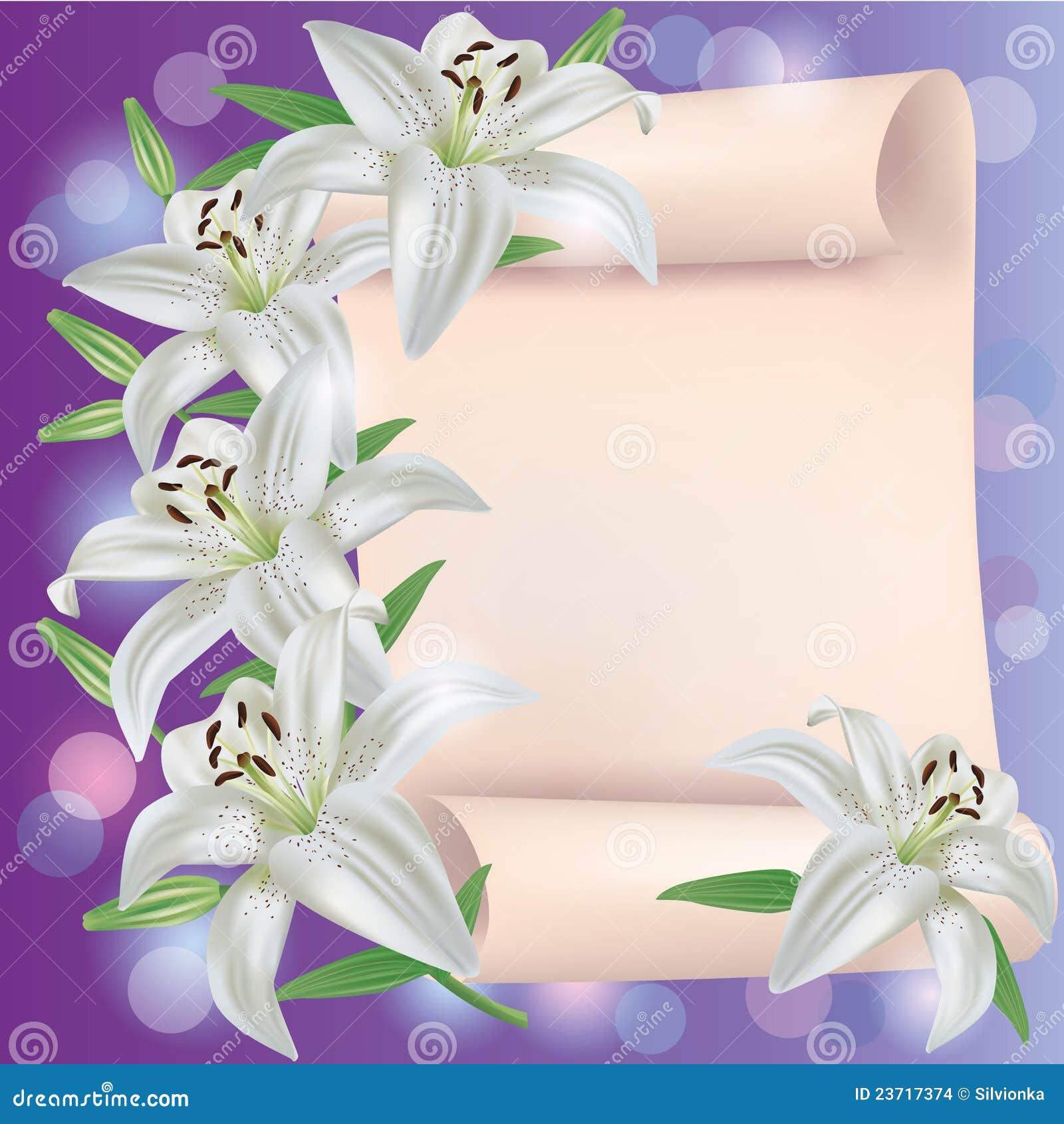 Gruß- oder Einladungskarte mit Lilienblumen