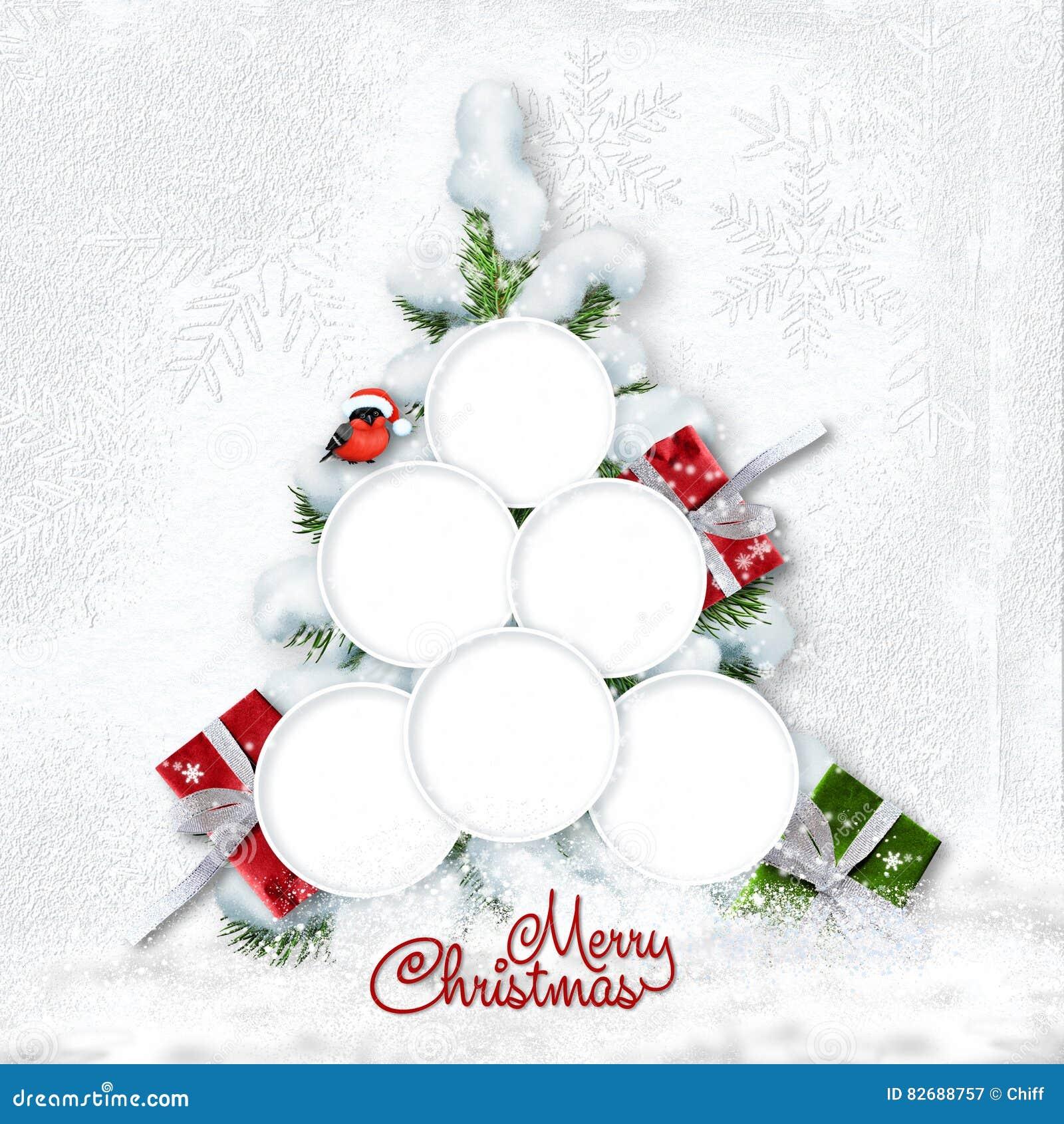 Gruß-Weihnachtskarte Mit Schneebedecktem Baum Und Rahmen Für Familie ...