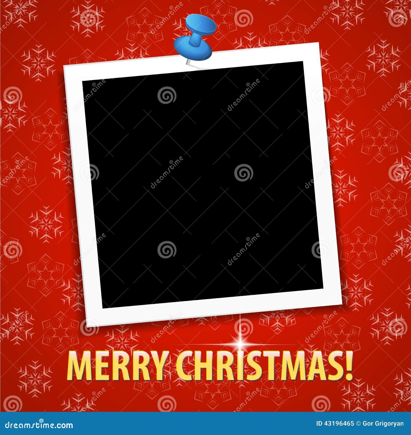 Fotorahmen Weihnachten.Grußkarte Der Frohen Weihnachten Mit Leerem Fotorahmen Vektor
