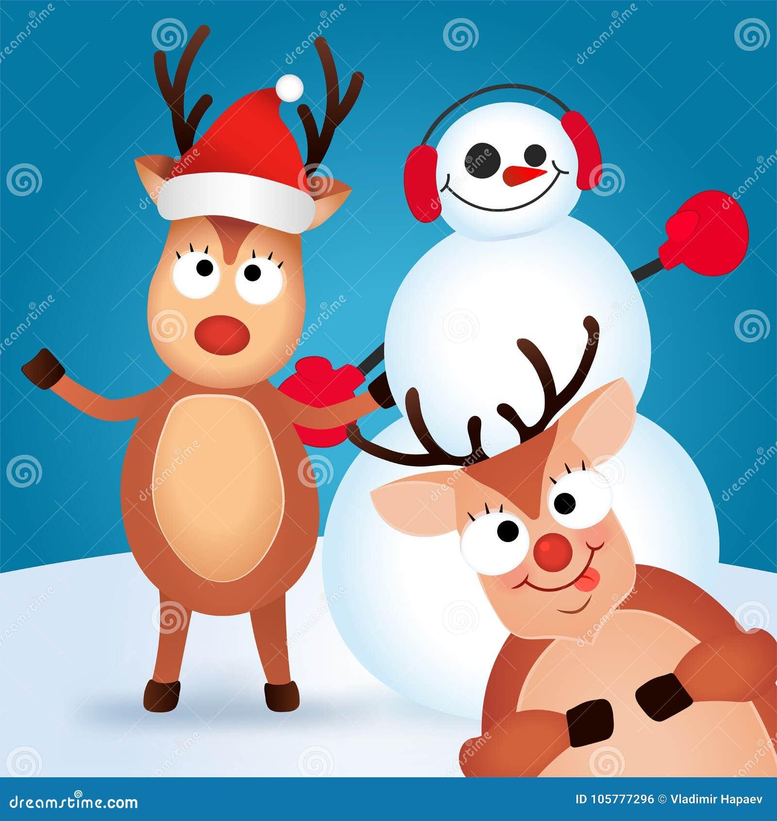 Grußkarte Der Frohen Weihnachten Nette Und Lustige Charakter Rotwild ...