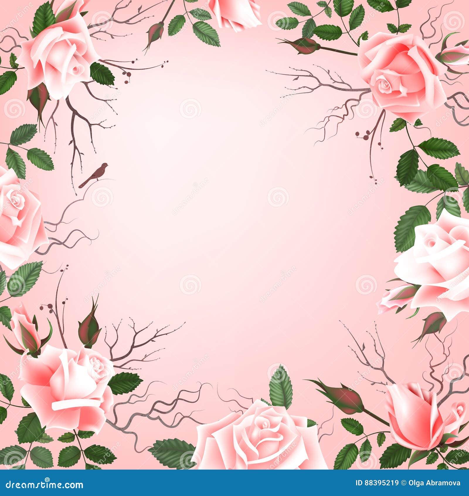Grußkarte Mit Rosen, Aquarell, Kann Als Einladungskarte Für Die Heirat,  Geburtstag Und Anderer Feiertag Und Sommer Benutzt Werden