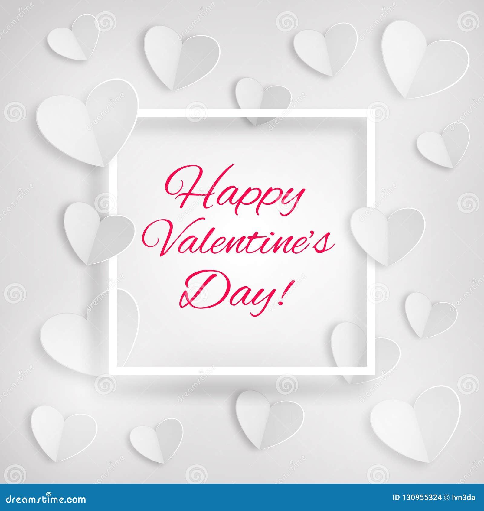 Grußkarte mit weißen Herzen und ein Rahmen mit Aufschrift glücklichem Valentinstag