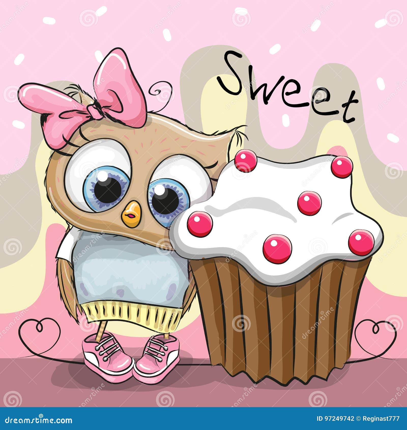 Grusskarte Nette Eule Mit Kuchen Vektor Abbildung Illustration Von