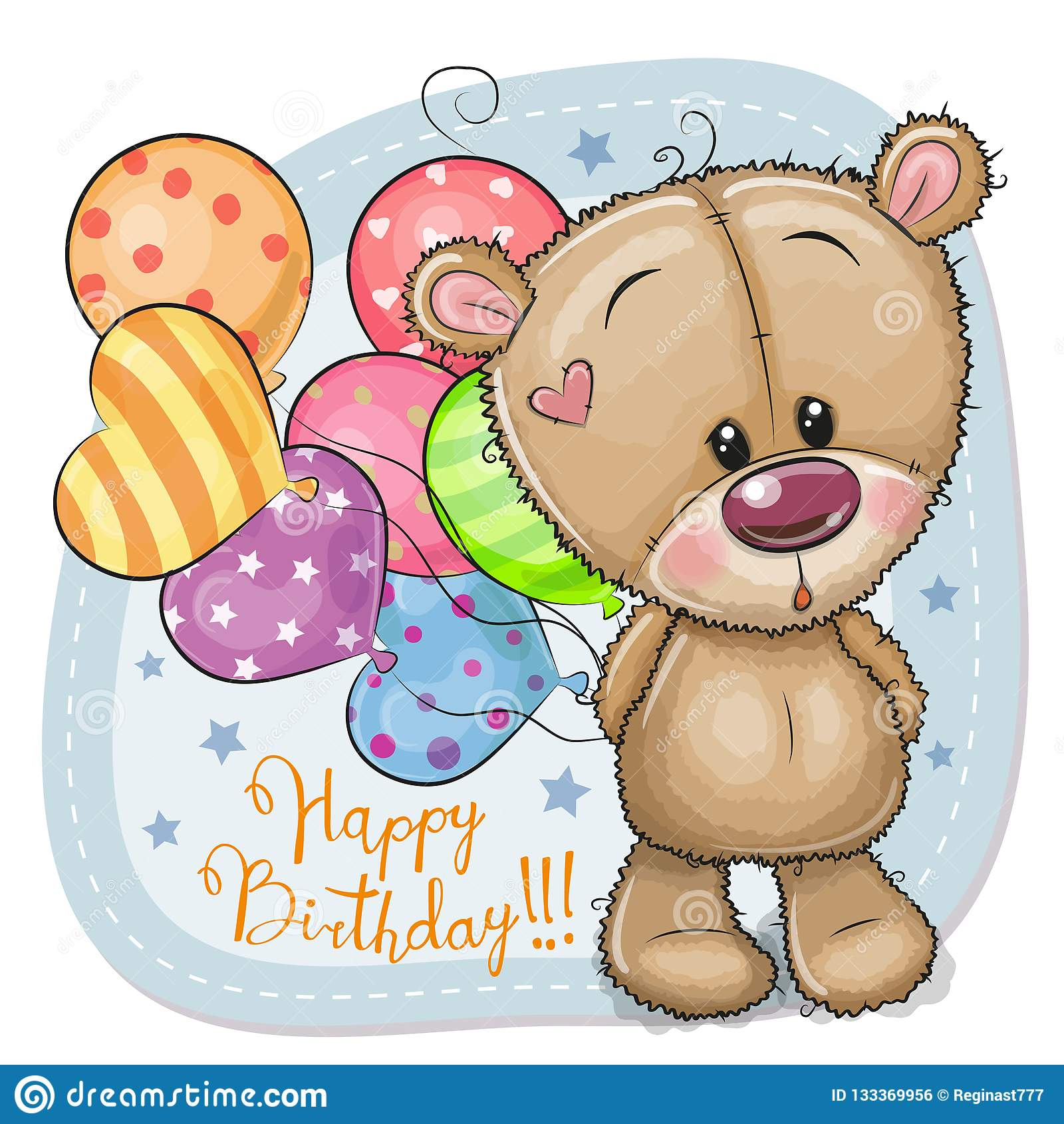 Grußkarte Teddy Bear mit Ballonen