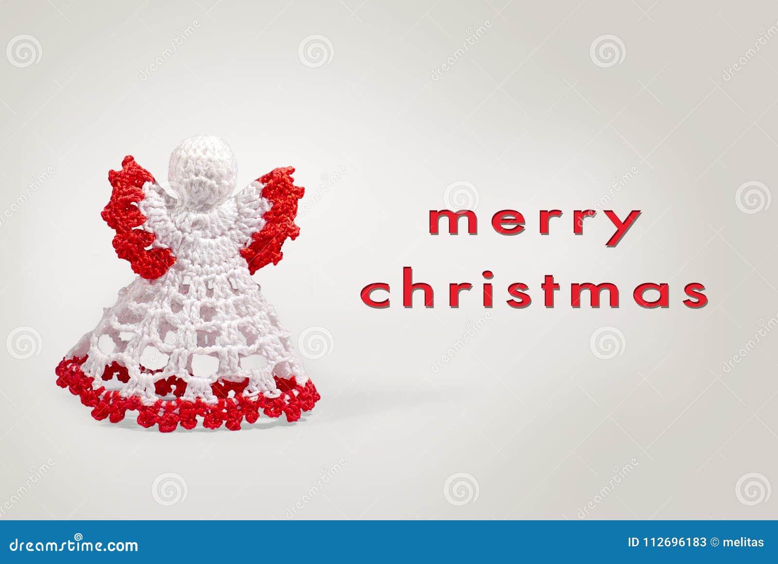 Weihnachtsgrüße Schreiben.Grußkarten Engelshäkelarbeit Mit Schreiben Der Frohen Weihnachten