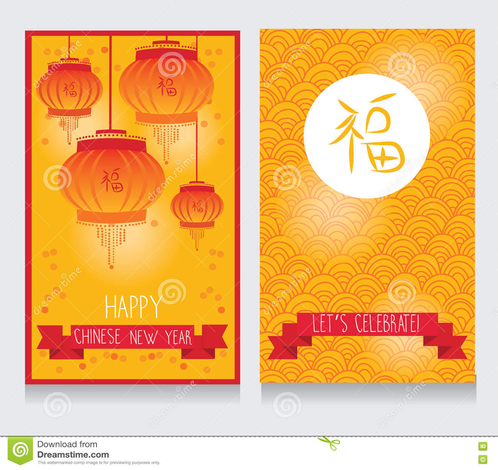 Grußkarten Für Chinesisches Neues Jahr Mit Glücklicher Und ...