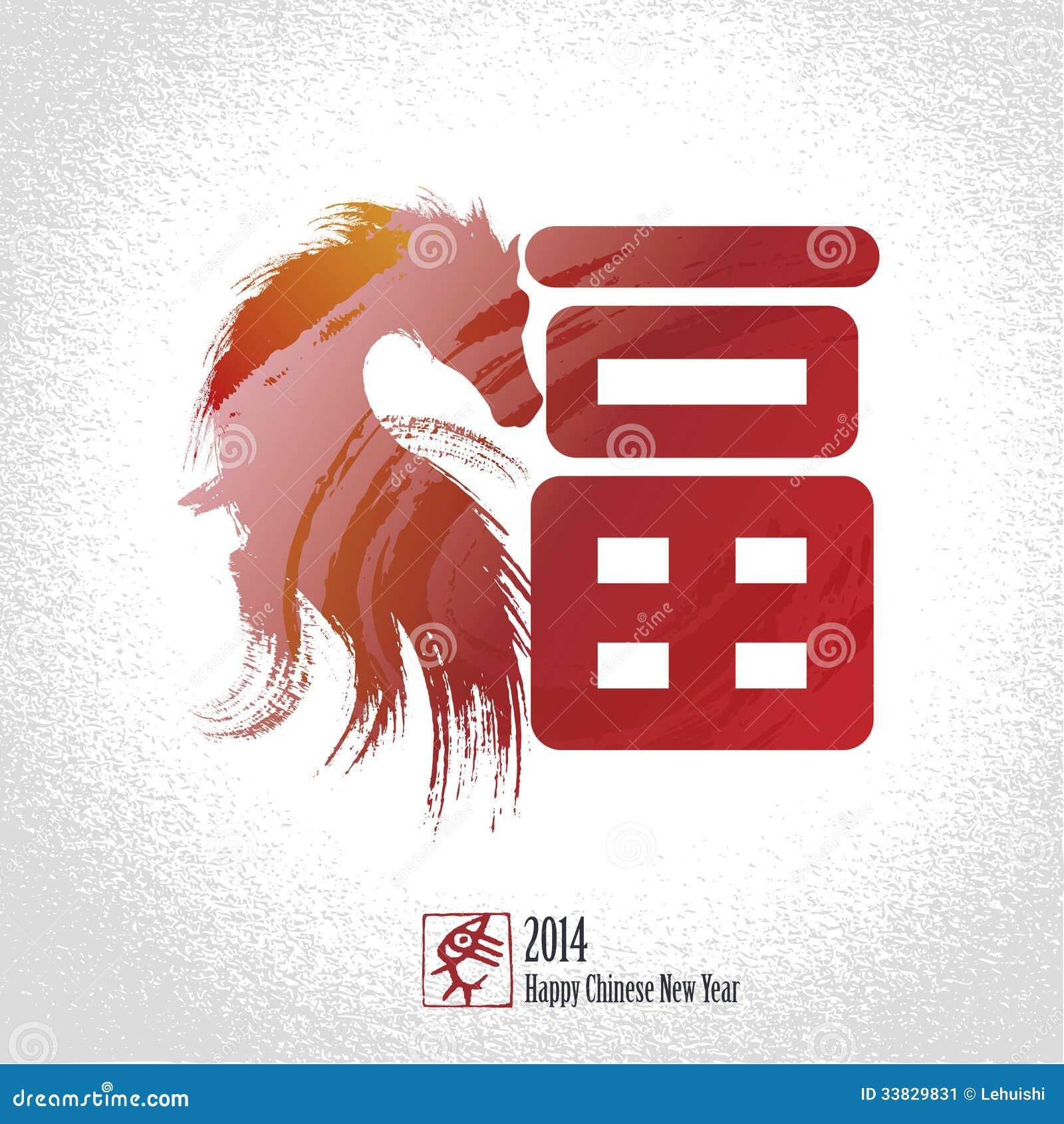 Grußkartenhintergrund des Chinesischen Neujahrsfests: Chinesisches Schriftzeichen für