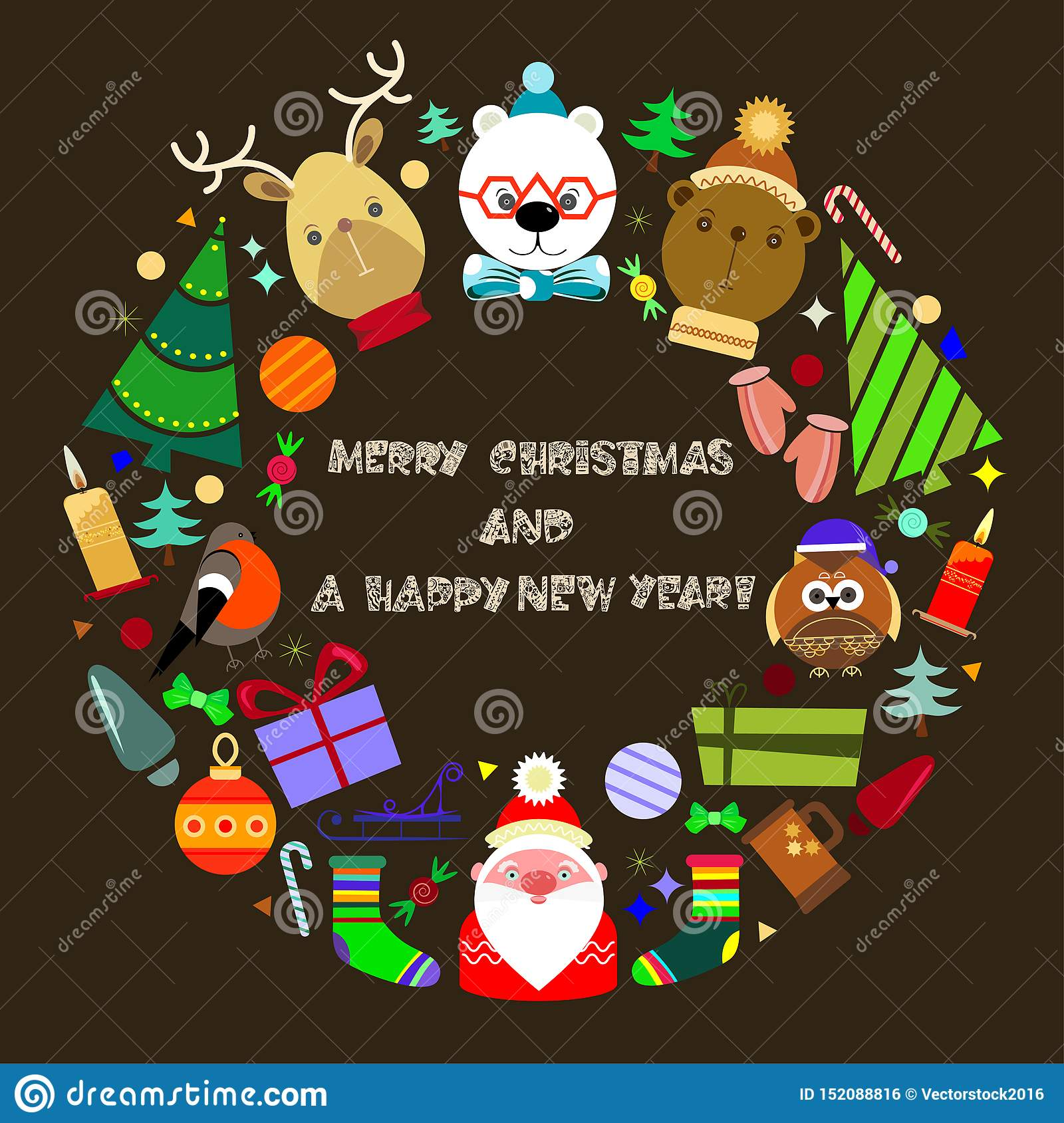 Gru?karte der frohen Weihnachten und des gl?cklichen neuen Jahres
