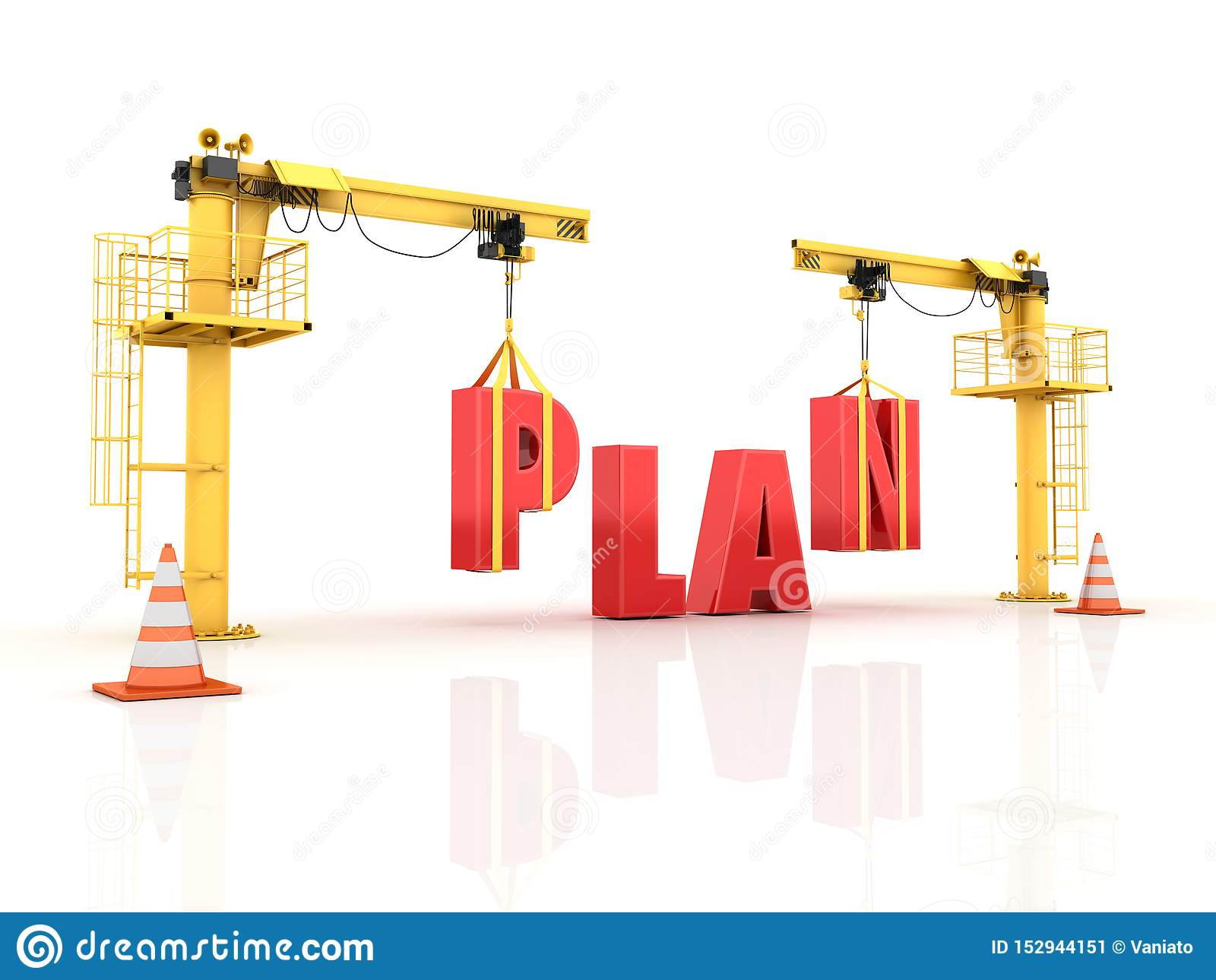 Grues établissant le PLAN Word