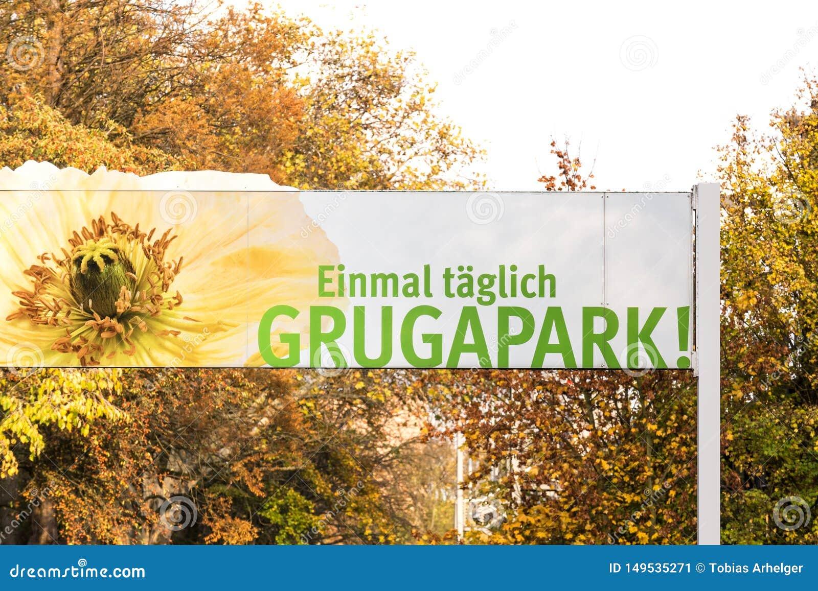 Grugapark sign in essen germany