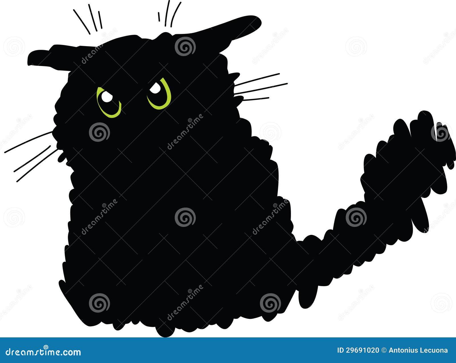 Grumpy black cat stock vector. Image of whiskers, cartoon ...
